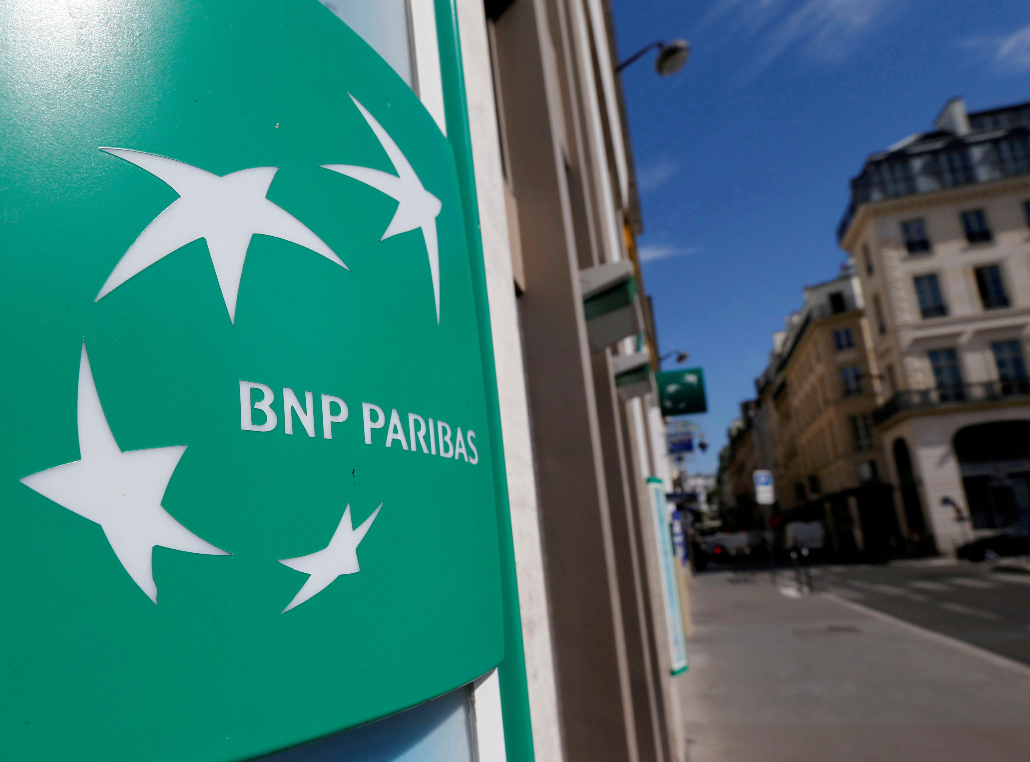 A BNP Paribas logo is seen outside a bank office in Paris, France, August 6, 2018.  REUTERS/Regis Duvignau/File Photo