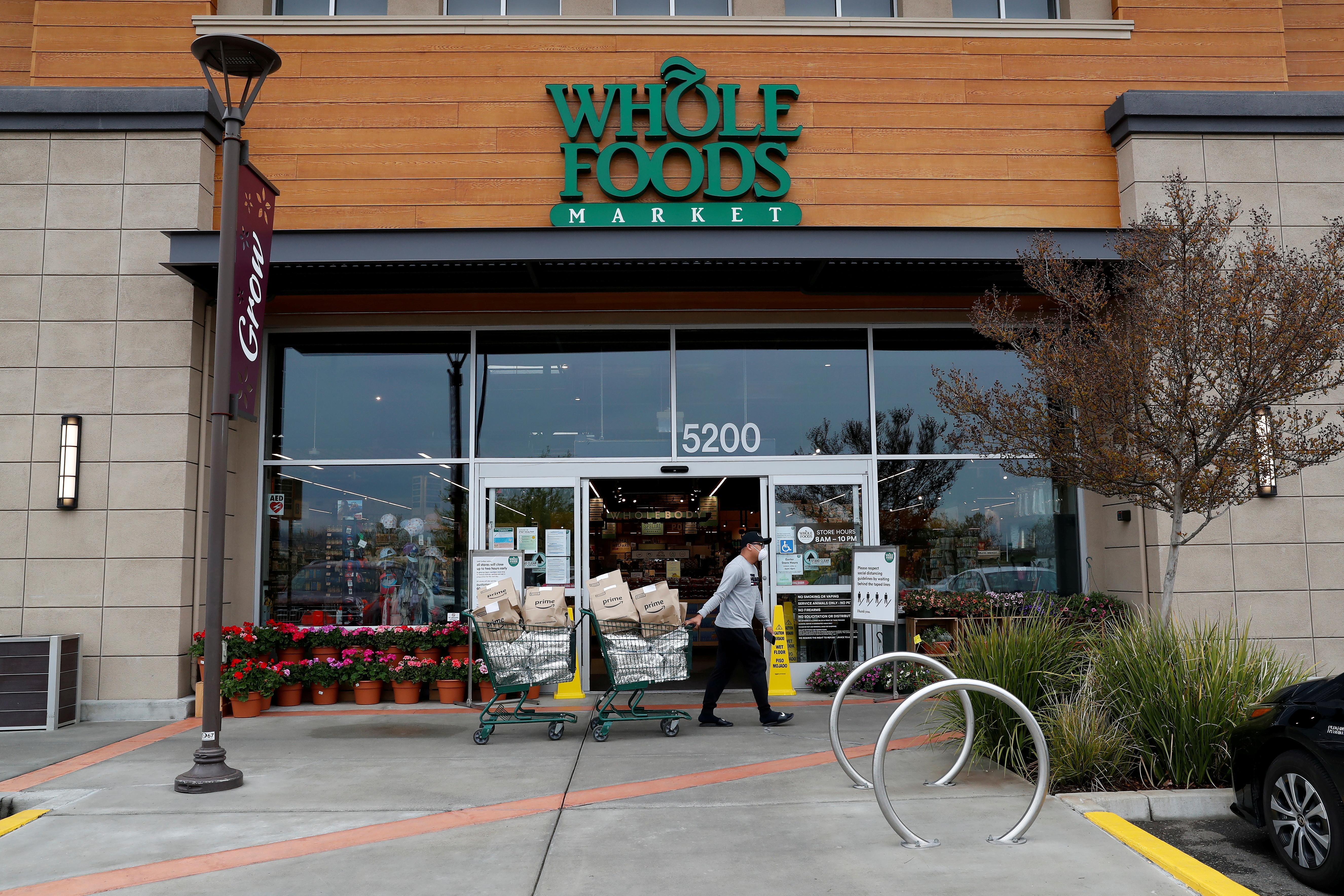 A Whole Foods Market n Dublin, California, U.S., April 6, 2020. REUTERS/Shannon Stapleton