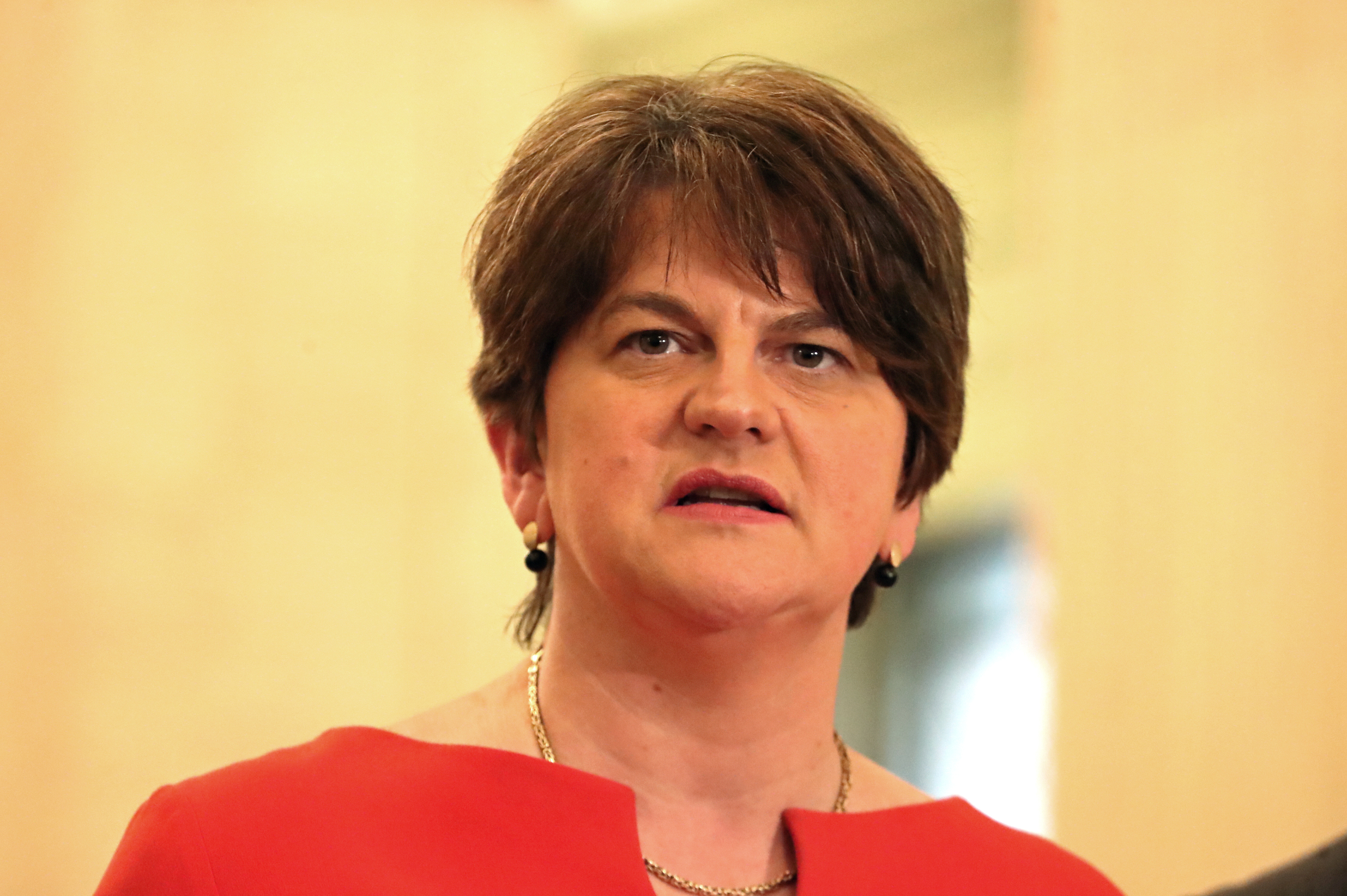 First Minister Arlene Foster of the DUP speaks in the Great Hall in the Stormont Parliament Buildings in Belfast, Northern Ireland, January 13, 2020. Liam McBurney/Pool via REUTERS/File Photo