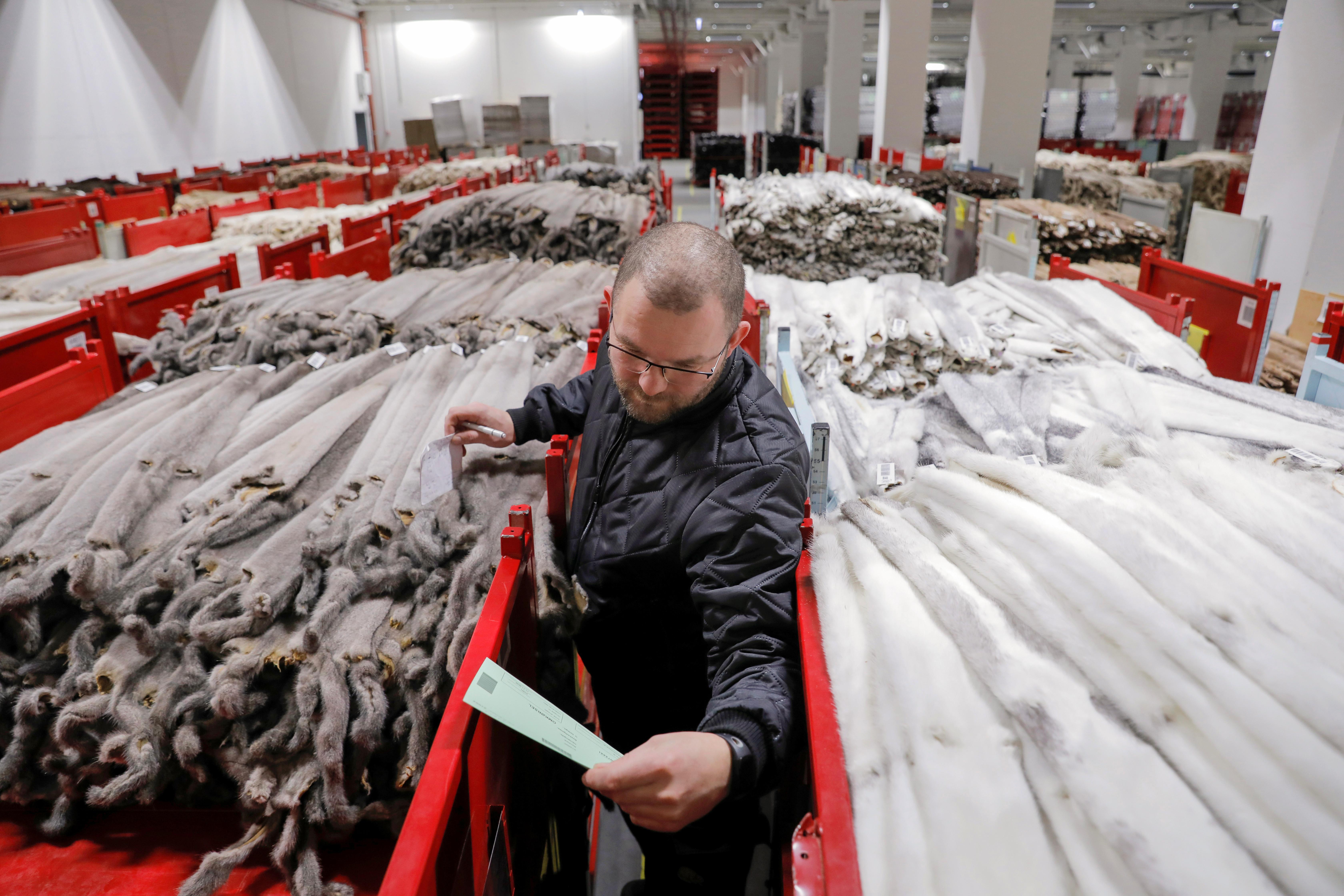 Kopenhagen Fur employee Bjarne Bendtsen works amongst mink pelts in the company's storage area, during the outbreak of the coronavirus disease (COVID-19) in Glostrup, Denmark, December 7, 2020.  REUTERS/Andrew Kelly