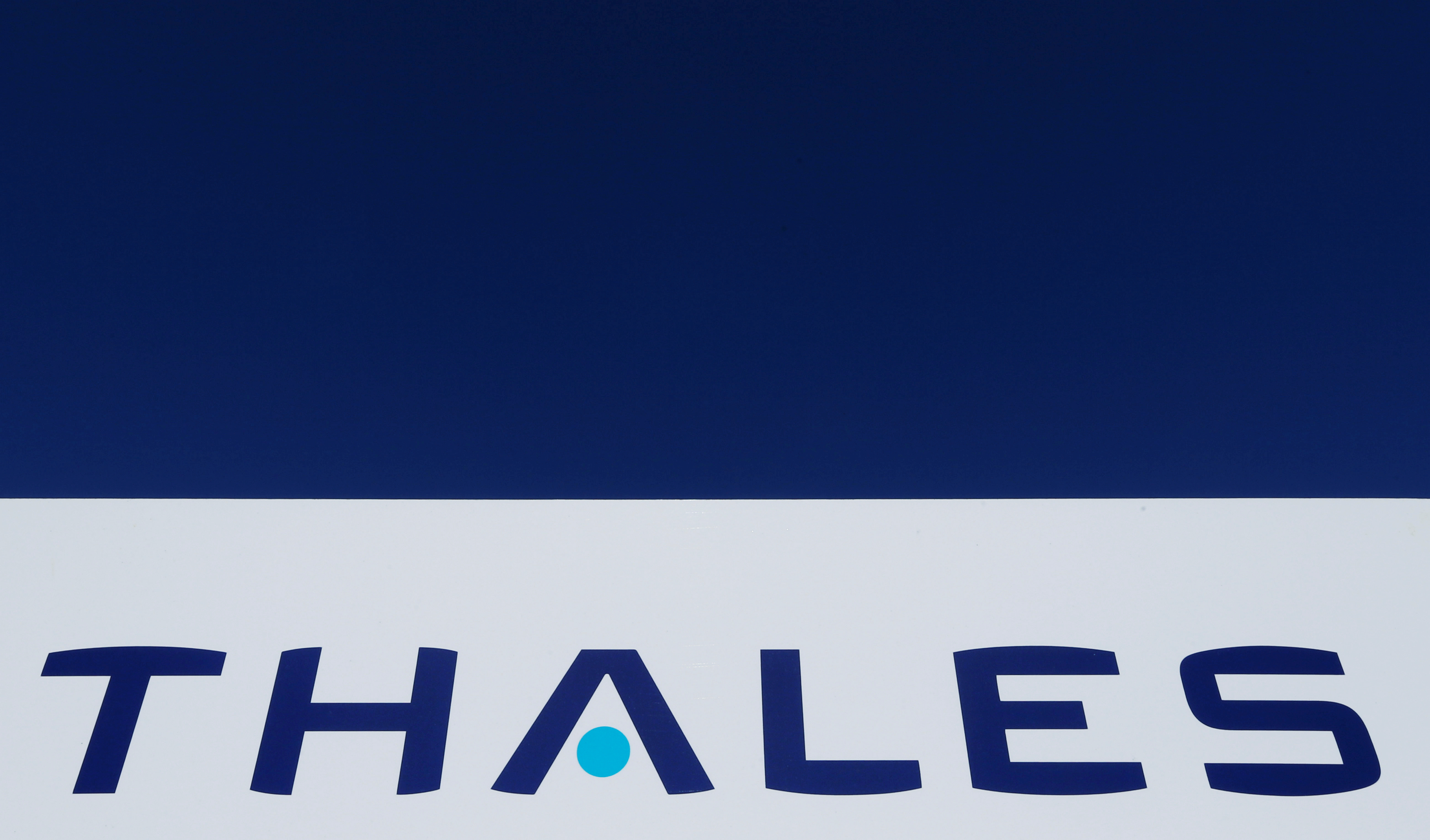 The logo of French defence and electronics group Thales is seen at the company's headquarters in Merignac near Bordeaux, France, March 22, 2019. REUTERS/Regis Duvignau