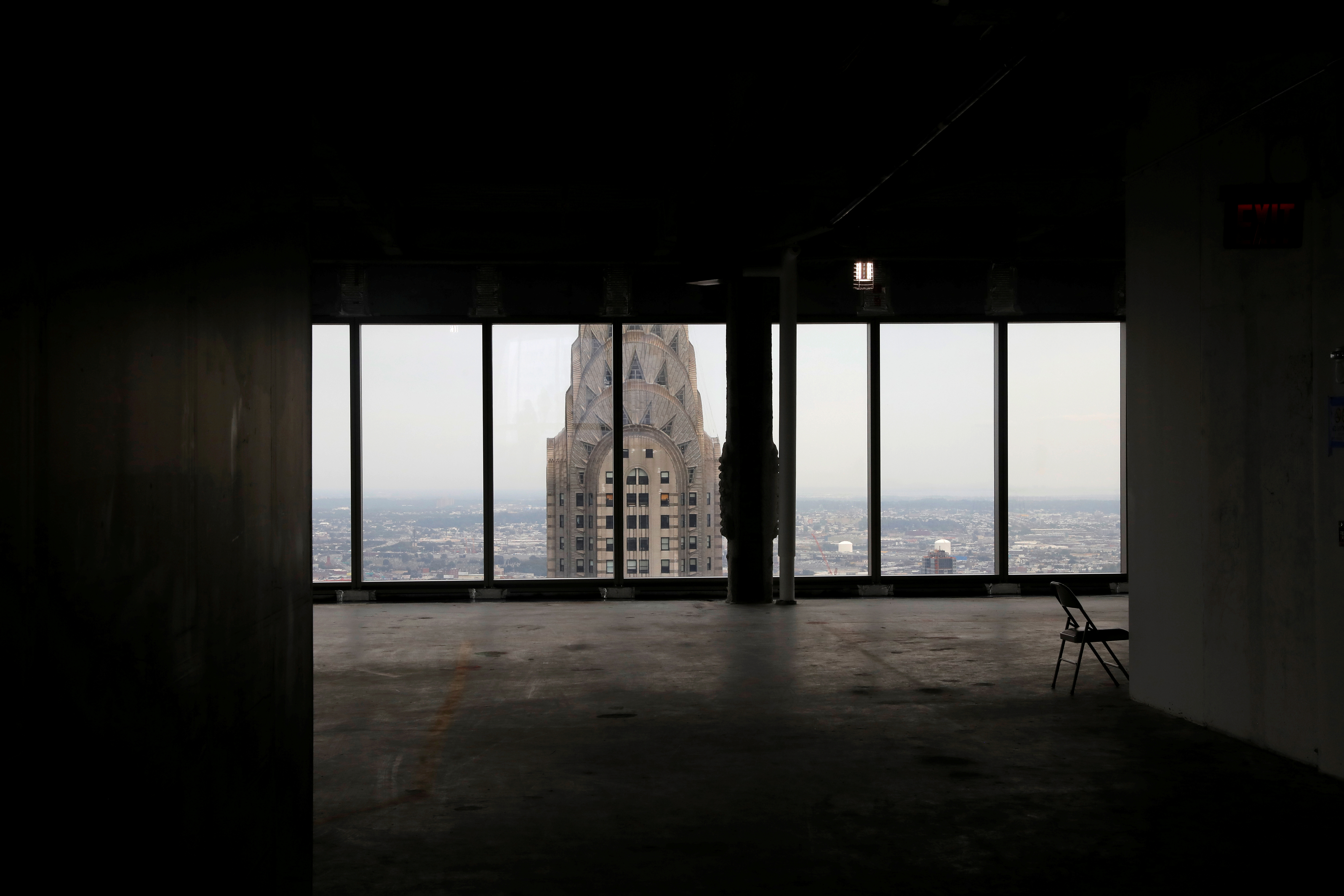 The Chrysler Building is seen out the windows from the 54th floor of the 77 story One Vanderbilt office tower, the latest super-tall skyscraper to grace New York's iconic skyline which is set to open while the coronavirus disease (COVID-19) keeps the largest and richest U.S. office market almost empty, in midtown Manhattan, New York City, New York, U.S., September 9, 2020. Picture taken September 9, 2020. REUTERS/Mike Segar