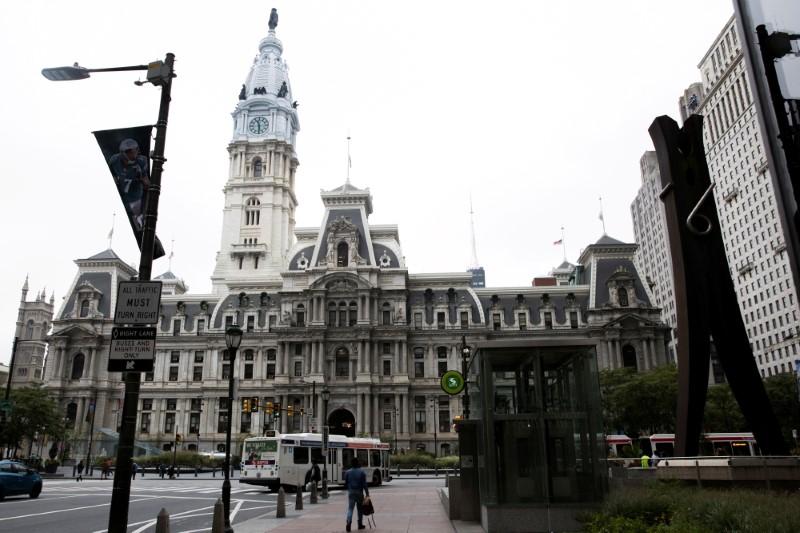 Philadelphia City Hall is pictured in Philadelphia, Pennsylvania, U.S., September 29, 2020.  REUTERS/Rachel Wisniewski/File Photo