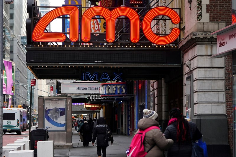 An AMC theatre is pictured amid the coronavirus disease (COVID-19) pandemic in the Manhattan borough of New York City, New York, U.S., January 27, 2021. REUTERS/Carlo Allegri