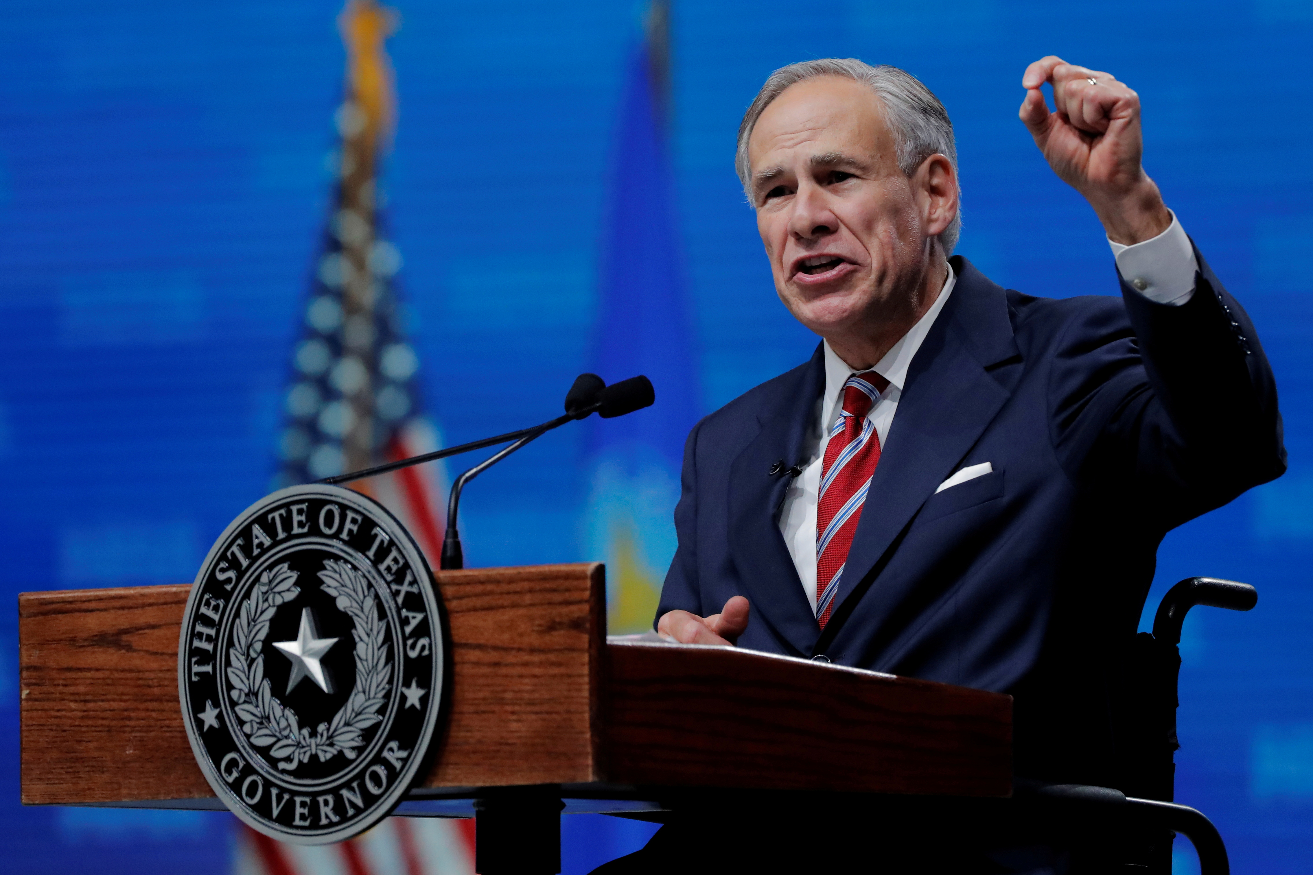 Texas Governor Greg Abbott speaks at the annual National Rifle Association (NRA) convention in Dallas, Texas, U.S., May 4, 2018. REUTERS/Lucas Jackson/File Photo