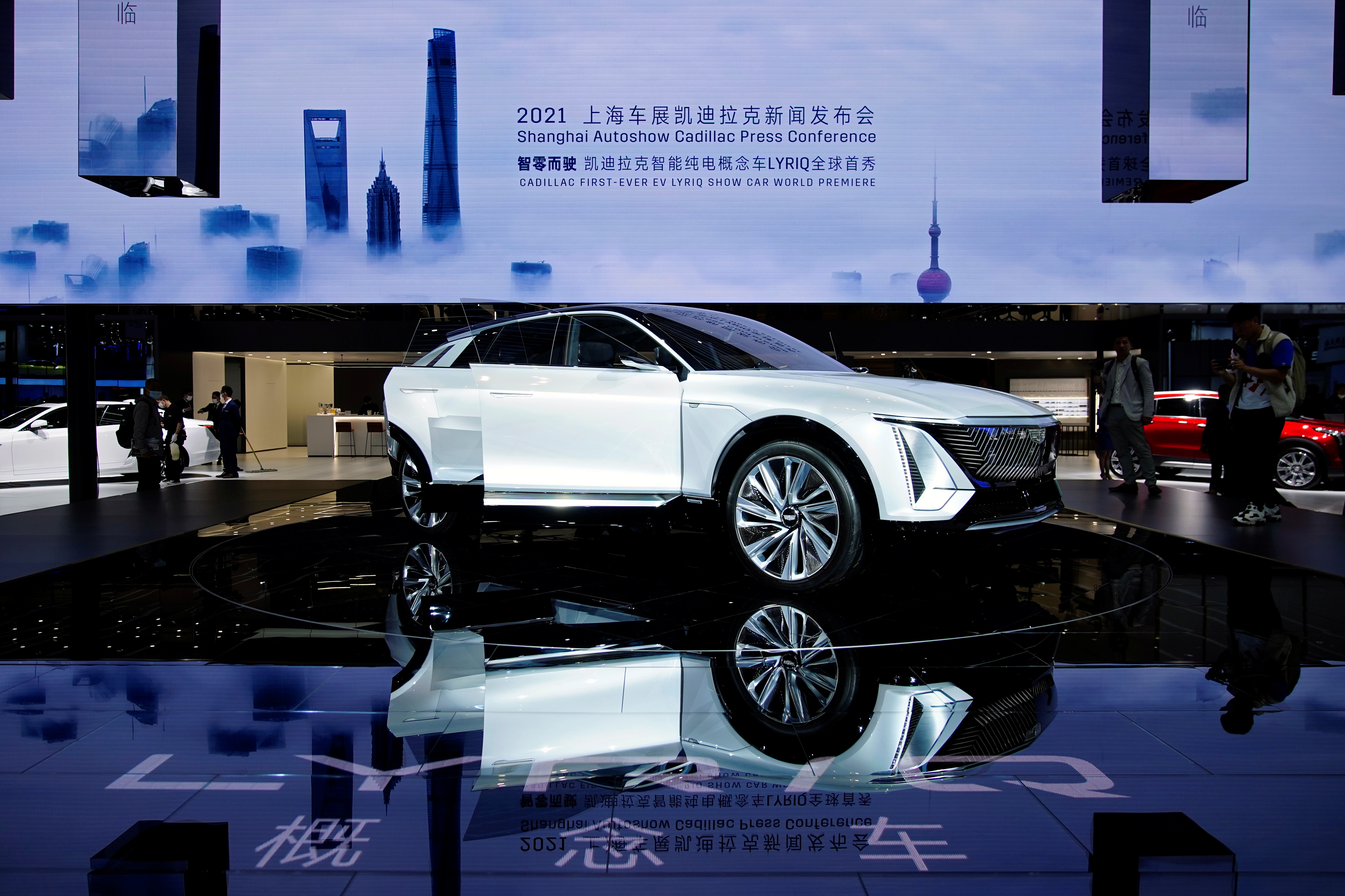 A Cadillac Lyriq electric vehicle under General Motors is seen during its world premiere on a media day for the Auto Shanghai show in Shanghai, April 19, 2021. REUTERS/Aly Song