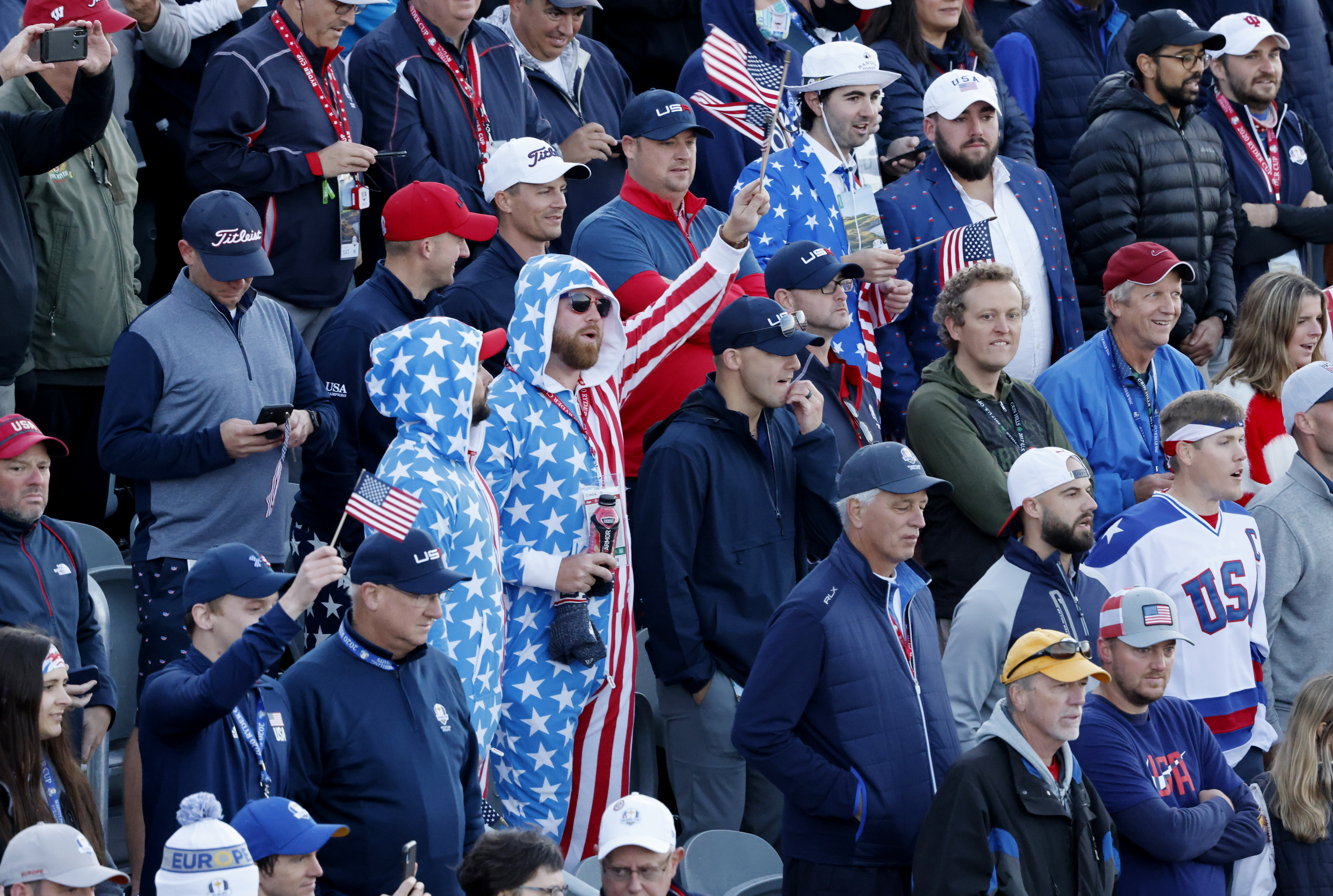 Golf - The 2020 Ryder Cup - Whistling Straits, Sheboygan, Wisconsin, U.S. - September 25, 2021 Team USA fans at the 1st tee during the Foursomes REUTERS/Jonathan Ernst