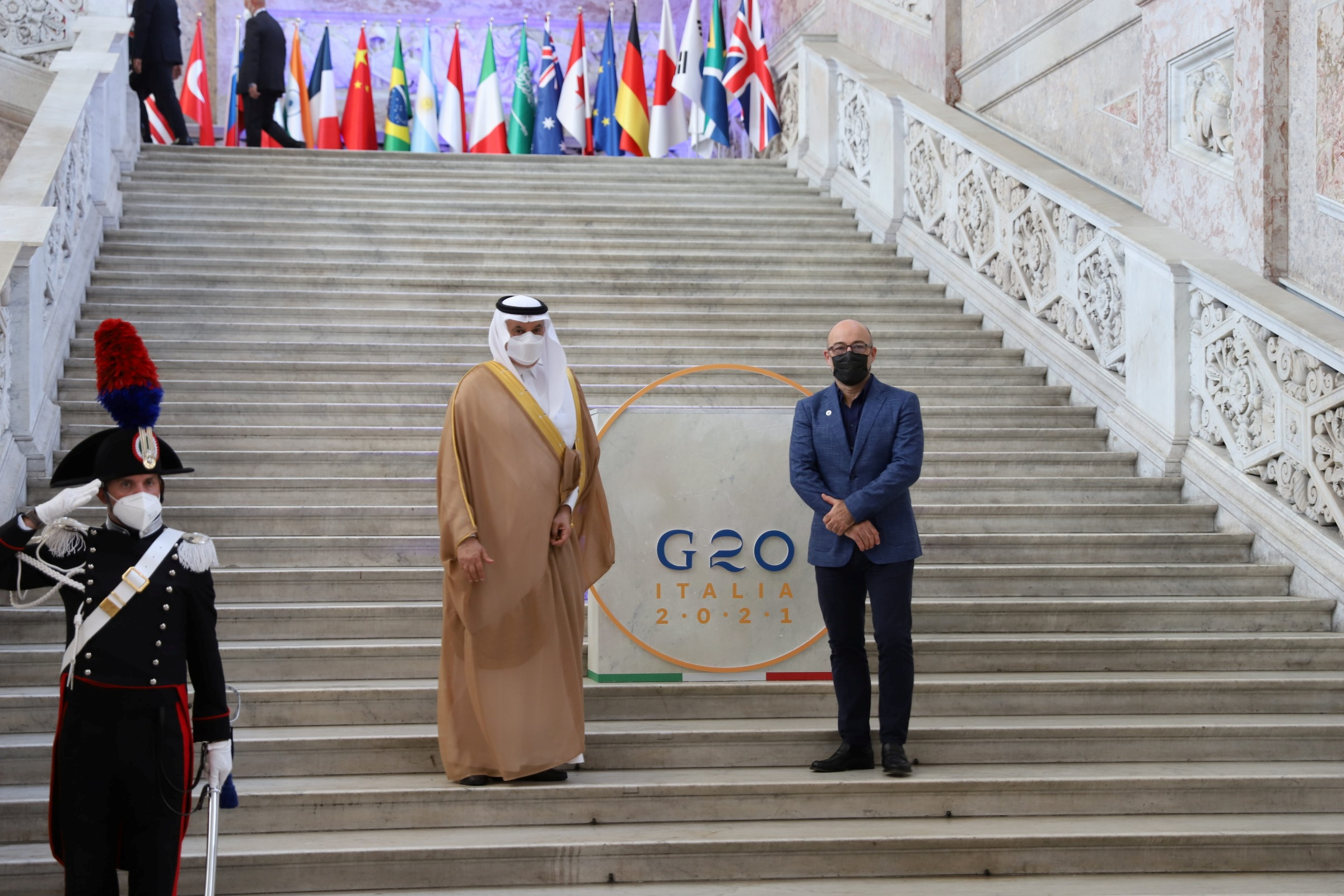 Saudi Arabia's Environment, Water and Agriculture Minister Abdulrahman Al-Fadhli and Italy's Ecological Transition Minister Roberto Cingolani pose for a photograph at the start of the G20 Environment, Climate and Energy Ministers' Meeting in Naples, Italy, July 22, 2021. G20Italy/Handout via REUTERS