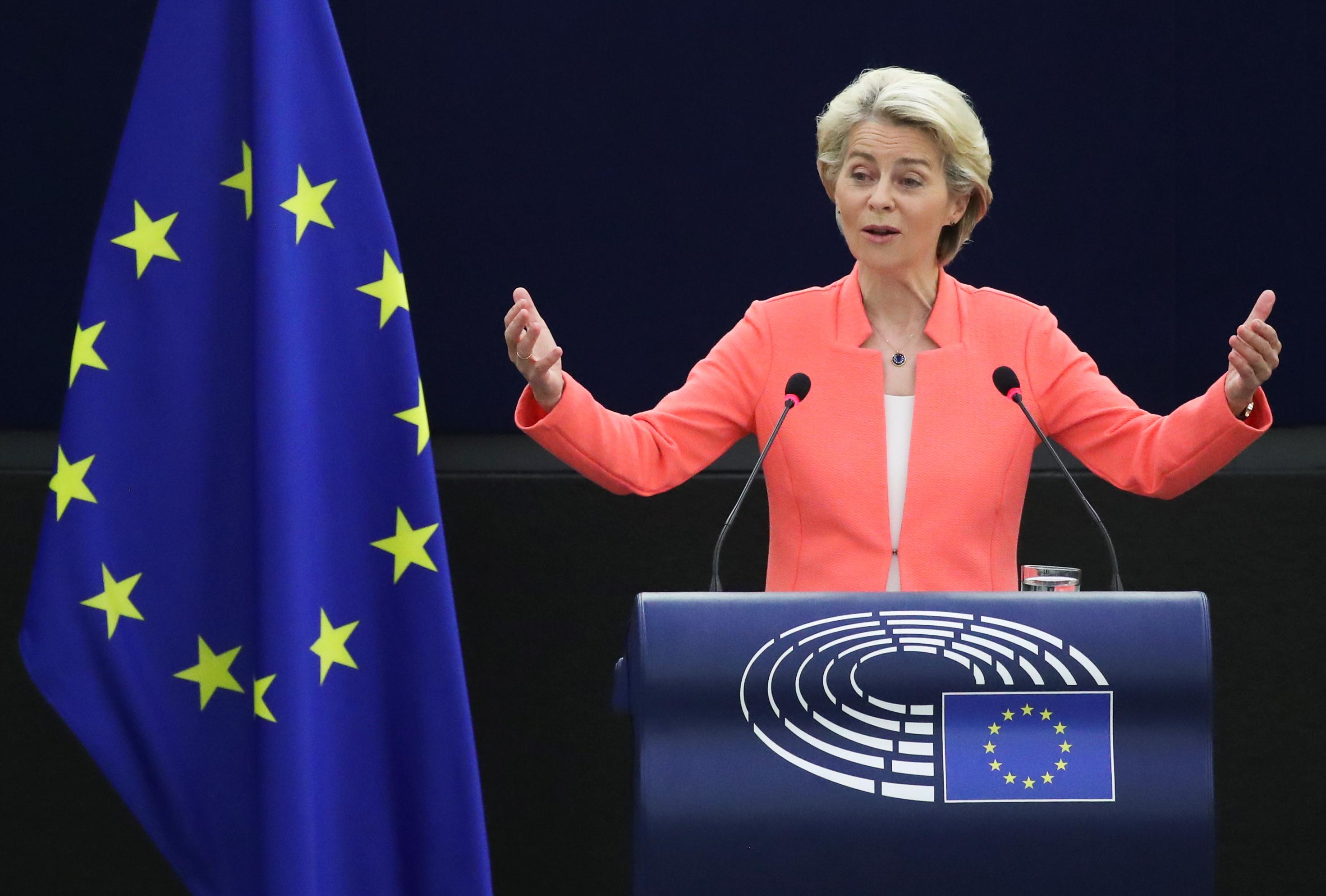 European Commission President Ursula von der Leyen delivers a speech during a debate on