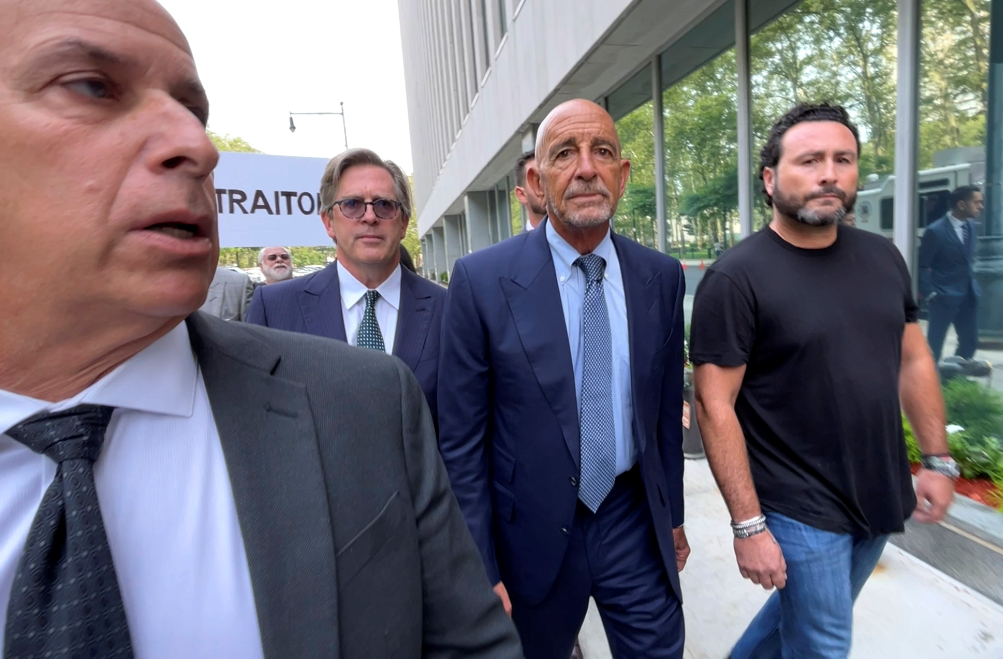 Thomas Barrack, a billionaire friend of Donald Trump who chaired the former President's inaugural fund, arrives at the Brooklyn Federal Courthouse in Brooklyn, New York, U.S., July 26, 2021.  REUTERS/Andrew Hofstetter