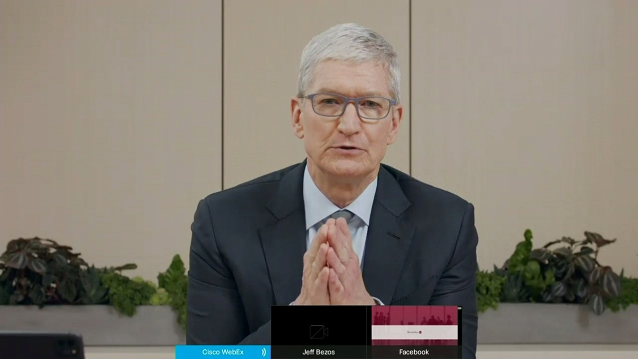 Apple CEO Tim Cook testifies remotely via videoconference during a U.S. House Judiciary Subcommittee on Antitrust, Commercial and Administrative Law hearing on