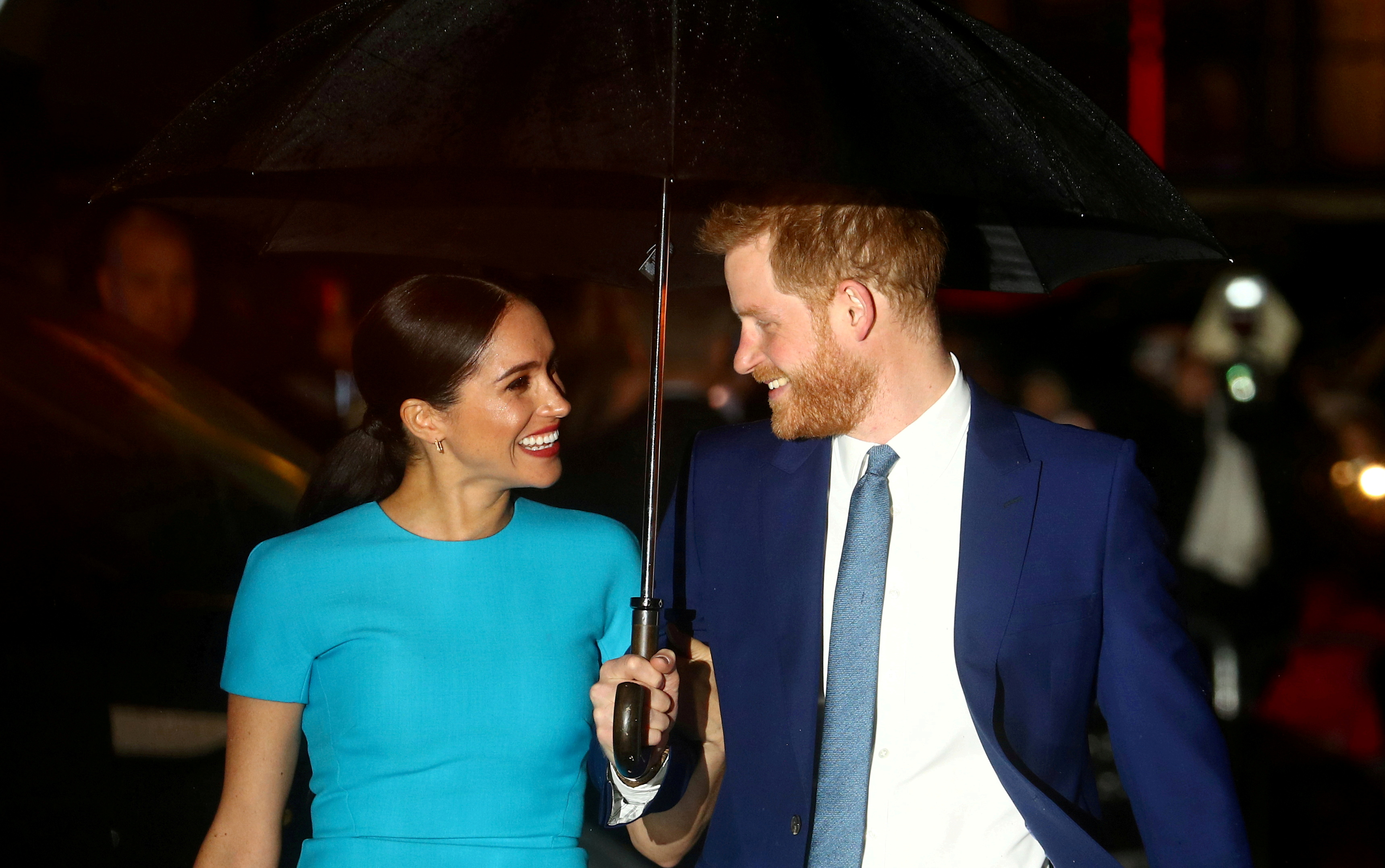 Britain's Prince Harry and his wife Meghan, Duchess of Sussex, arrive at the Endeavour Fund Awards in London, Britain March 5, 2020. REUTERS/Hannah McKay/File Photo