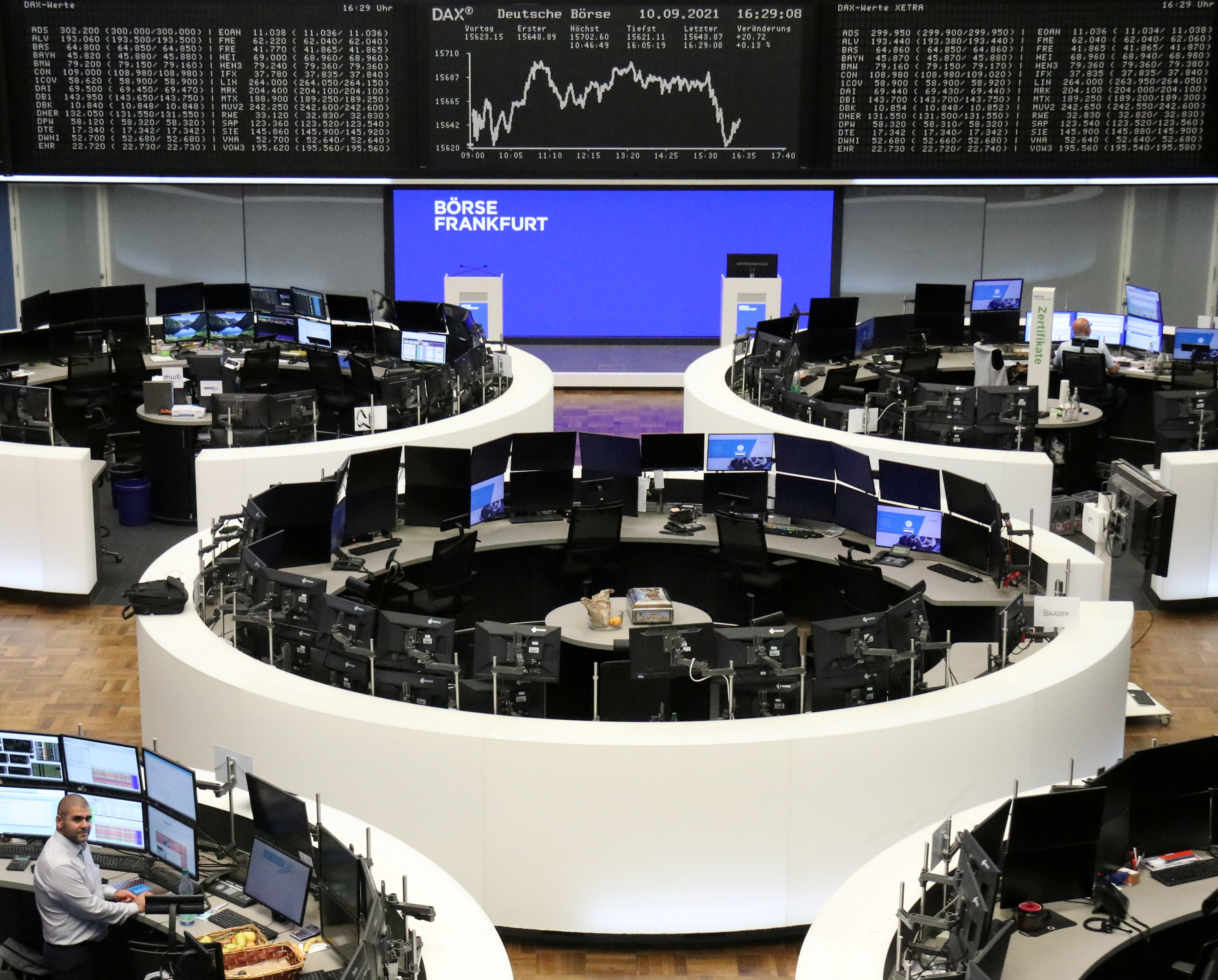 The German share price index DAX graph is pictured at the stock exchange in Frankfurt, Germany, September 10, 2021. REUTERS/Staff