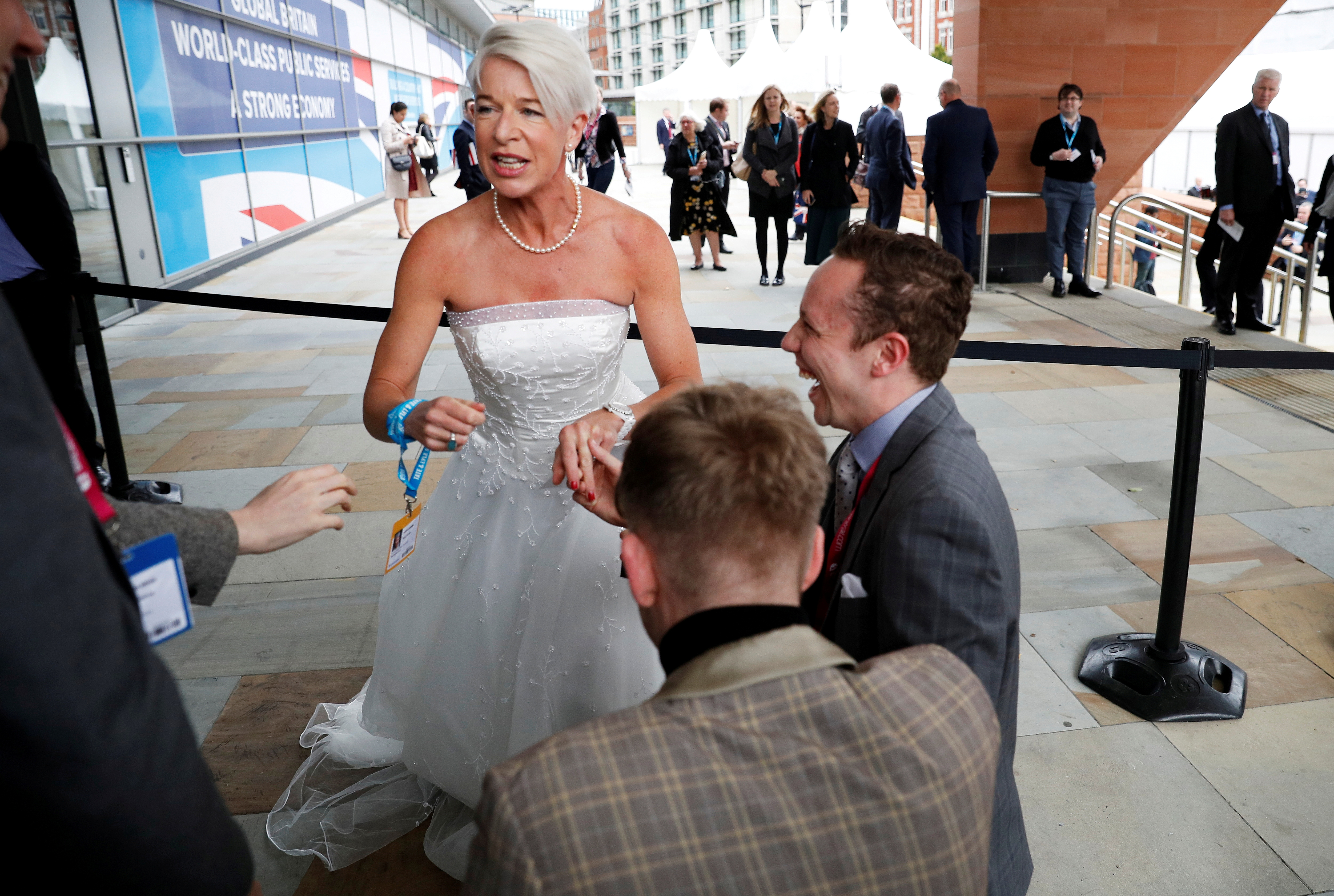 Newspaper columnist Katie Hopkins arrives dressed in a wedding dress at the Conservative Party's conference in Manchester, Britain October 2, 2017. REUTERS/Phil Noble/File Photo