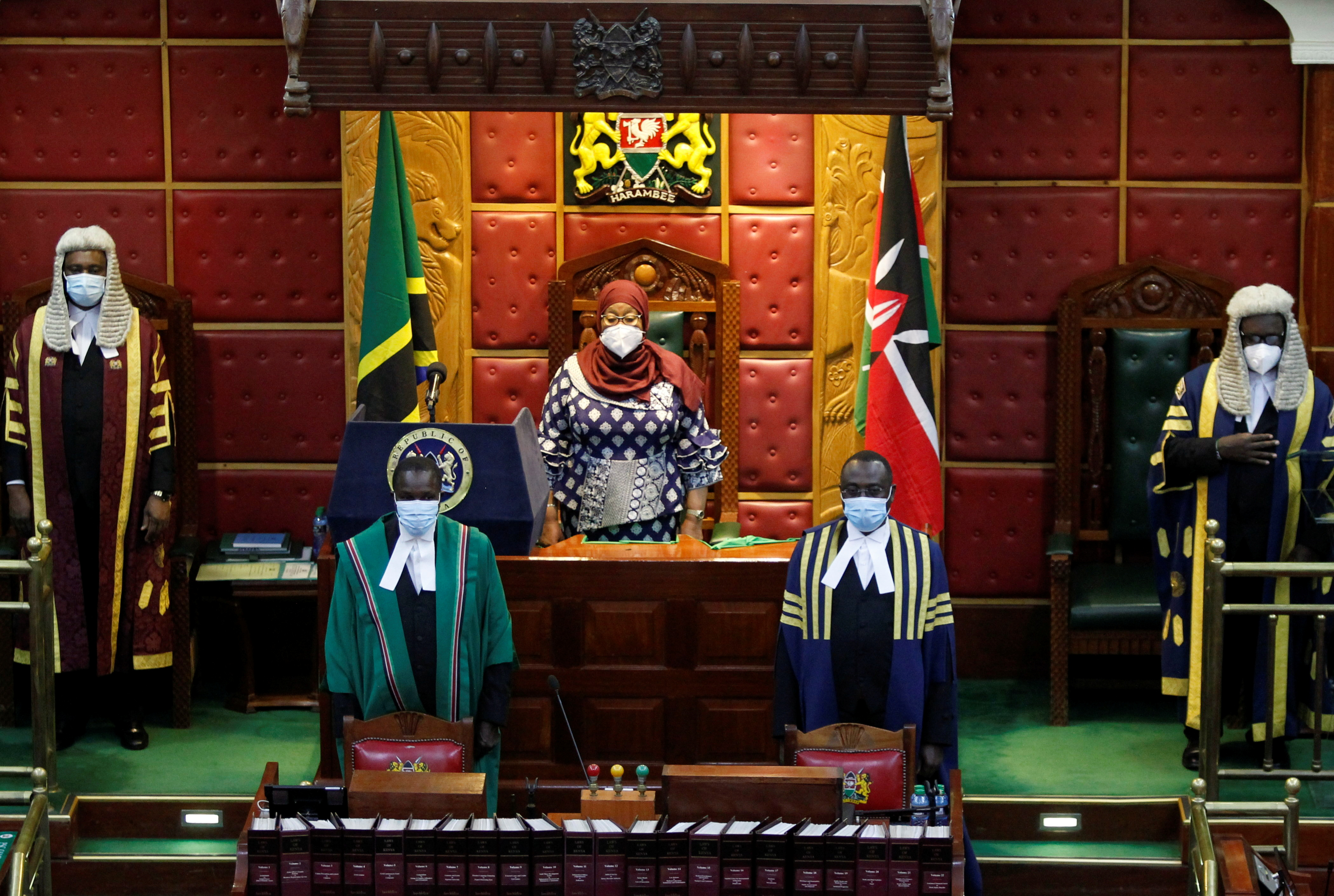 Tanzanian President Samia Suluhu Hassan (C) arrives to address a joint Parliament session of Kenyan Members of Parliament and Senators in Nairobi, Kenya, May 5, 2021. REUTERS/Monicah Mwangi