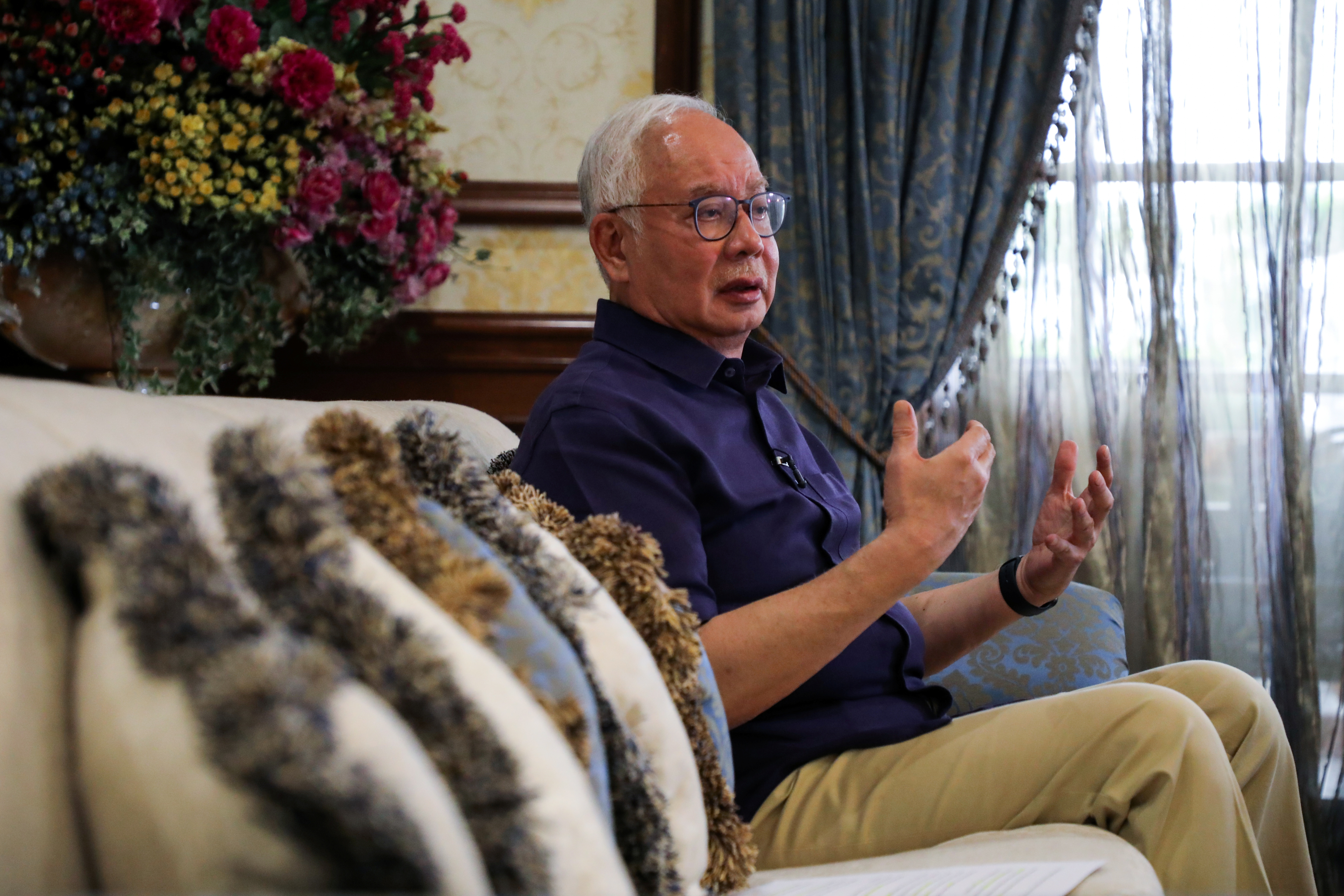 Malaysia's former Prime Minister Najib Razak speaks during an interview with Reuters in Kuala Lumpur, Malaysia September 18, 2021. REUTERS/Lim Huey Teng