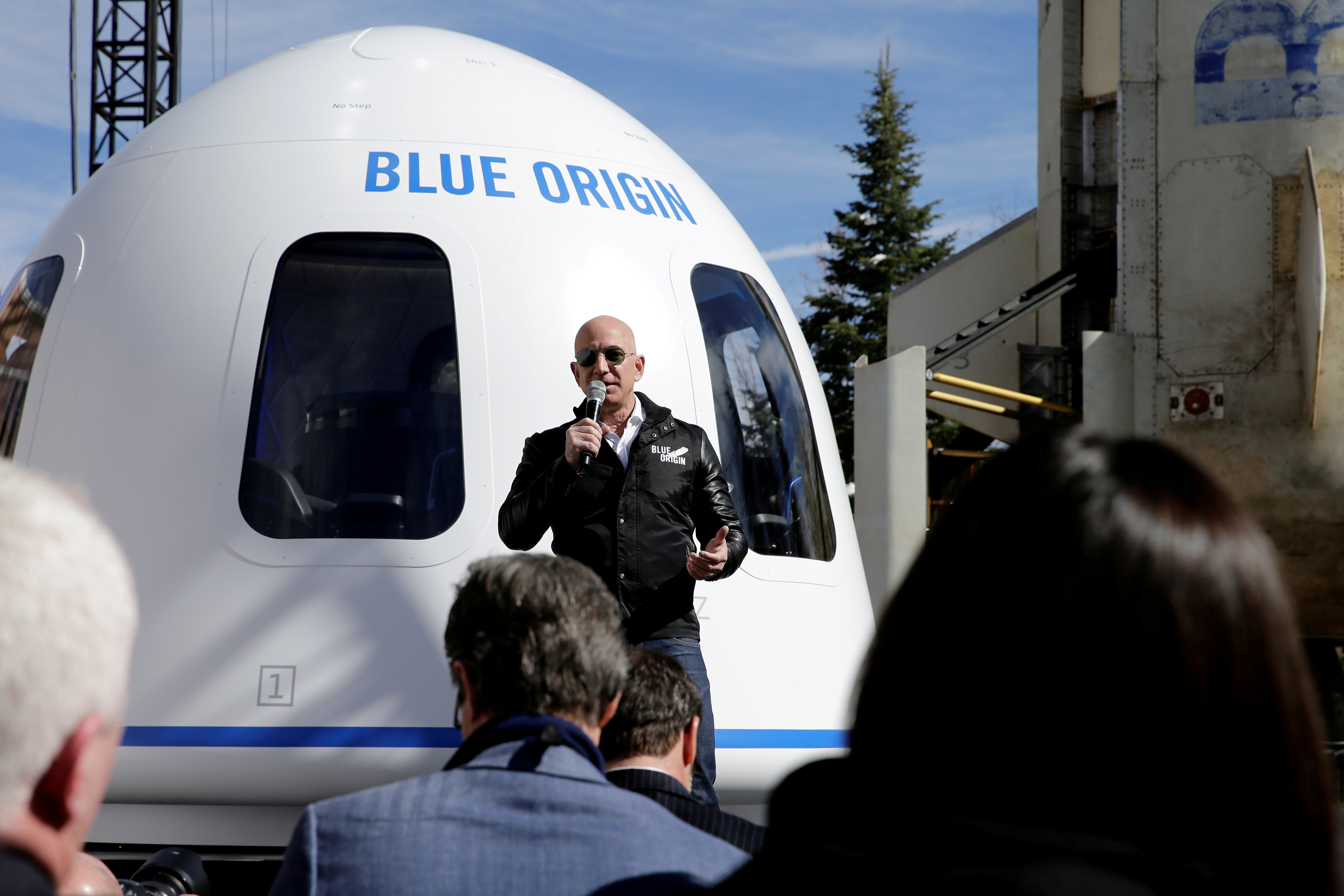 Amazon and Blue Origin founder Jeff Bezos addresses the media about the New Shepard rocket booster and Crew Capsule mockup at the 33rd Space Symposium in Colorado Springs, Colorado, United States April 5, 2017. REUTERS/Isaiah J. Downing/File Photo
