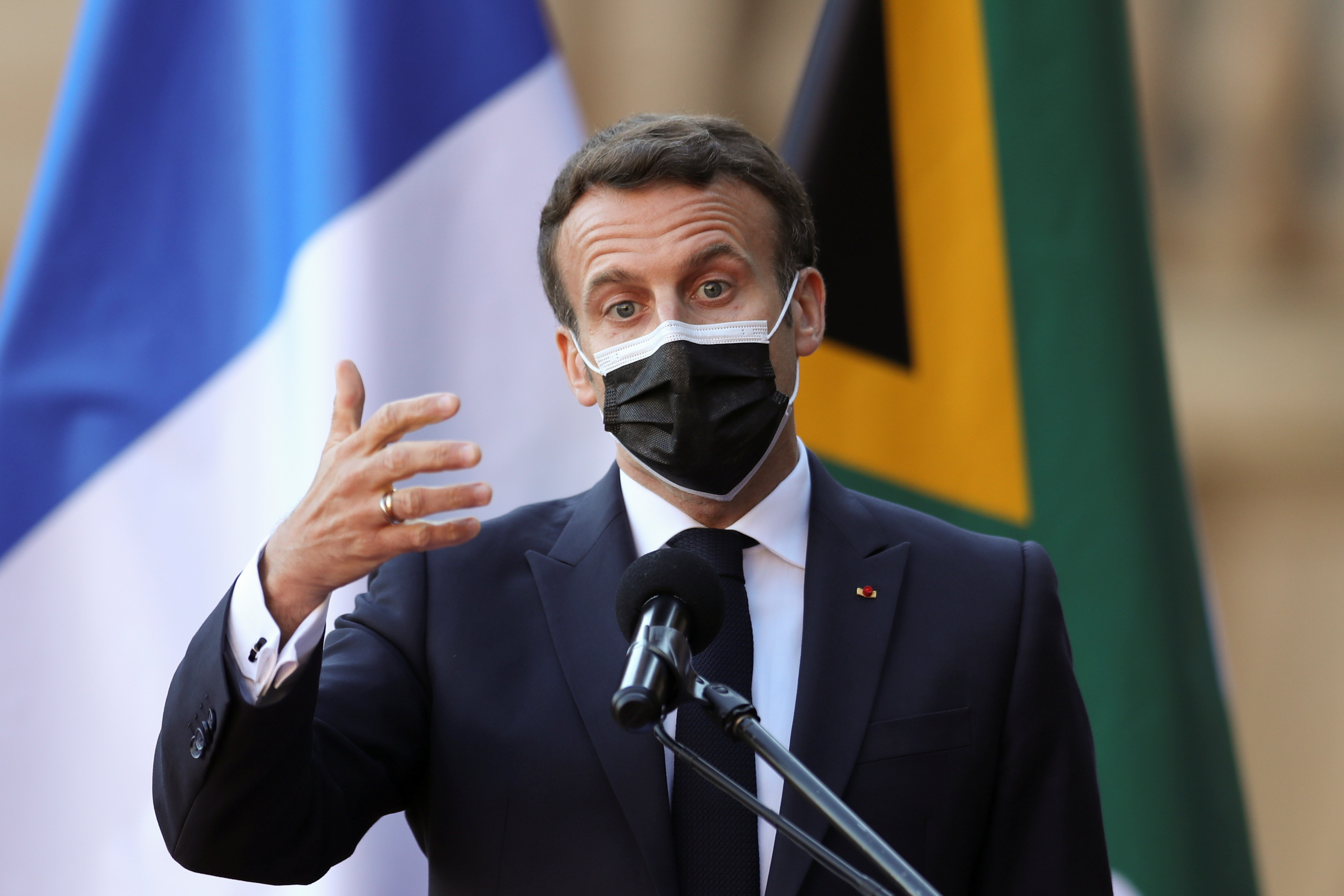 France's President Emmanuel Macron briefs media during a state visit, at the Union Buildings in Pretoria, South Africa May 28, 2021. REUTERS/Siphiwe Sibeko