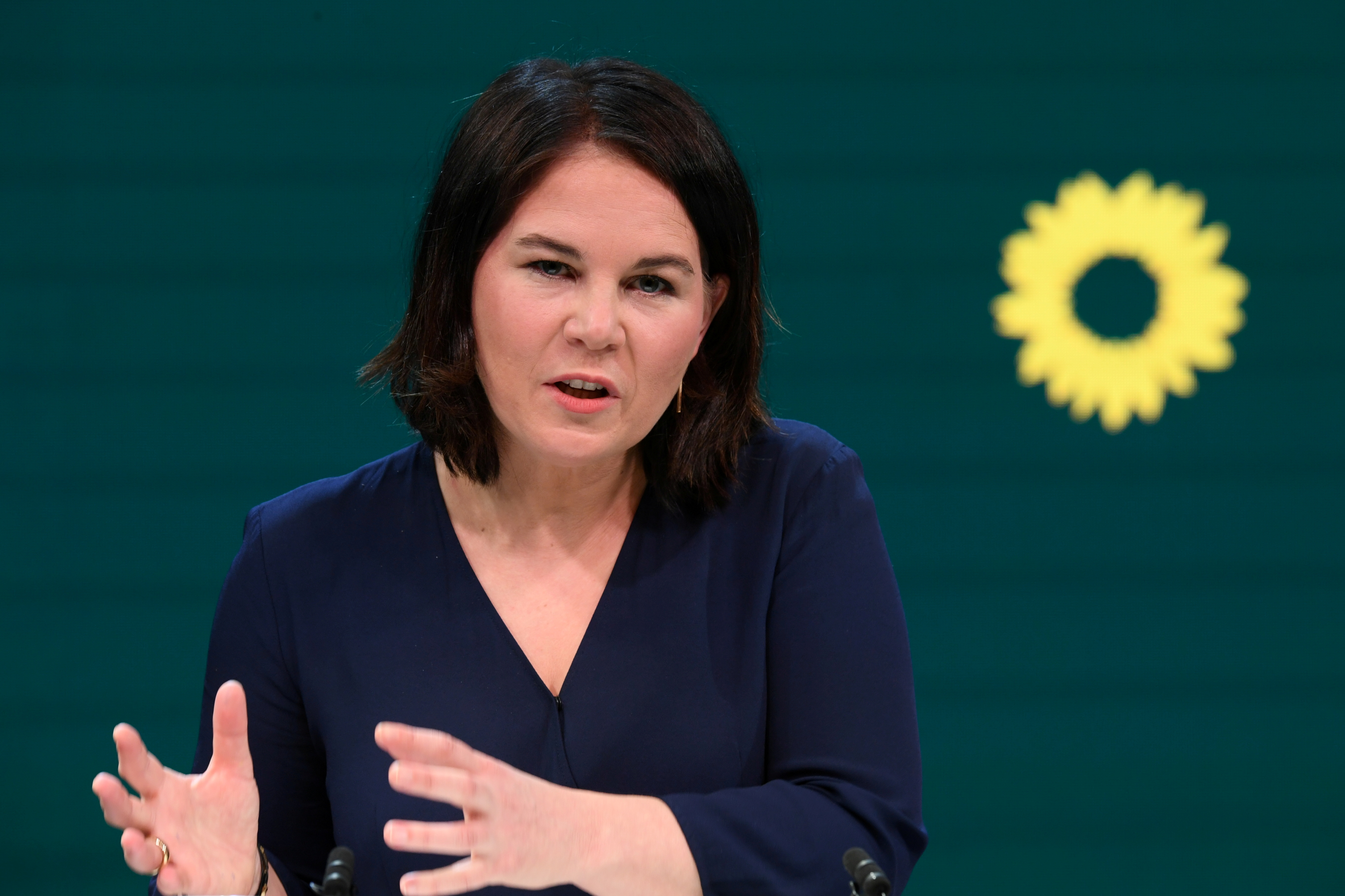 Co-leader of Germany's Green party and designated candidate for chancellor Annalena Baerbock holds a news conference in Berlin, Germany, April 19, 2021. REUTERS/Annegret Hilse/Pool/File Photo