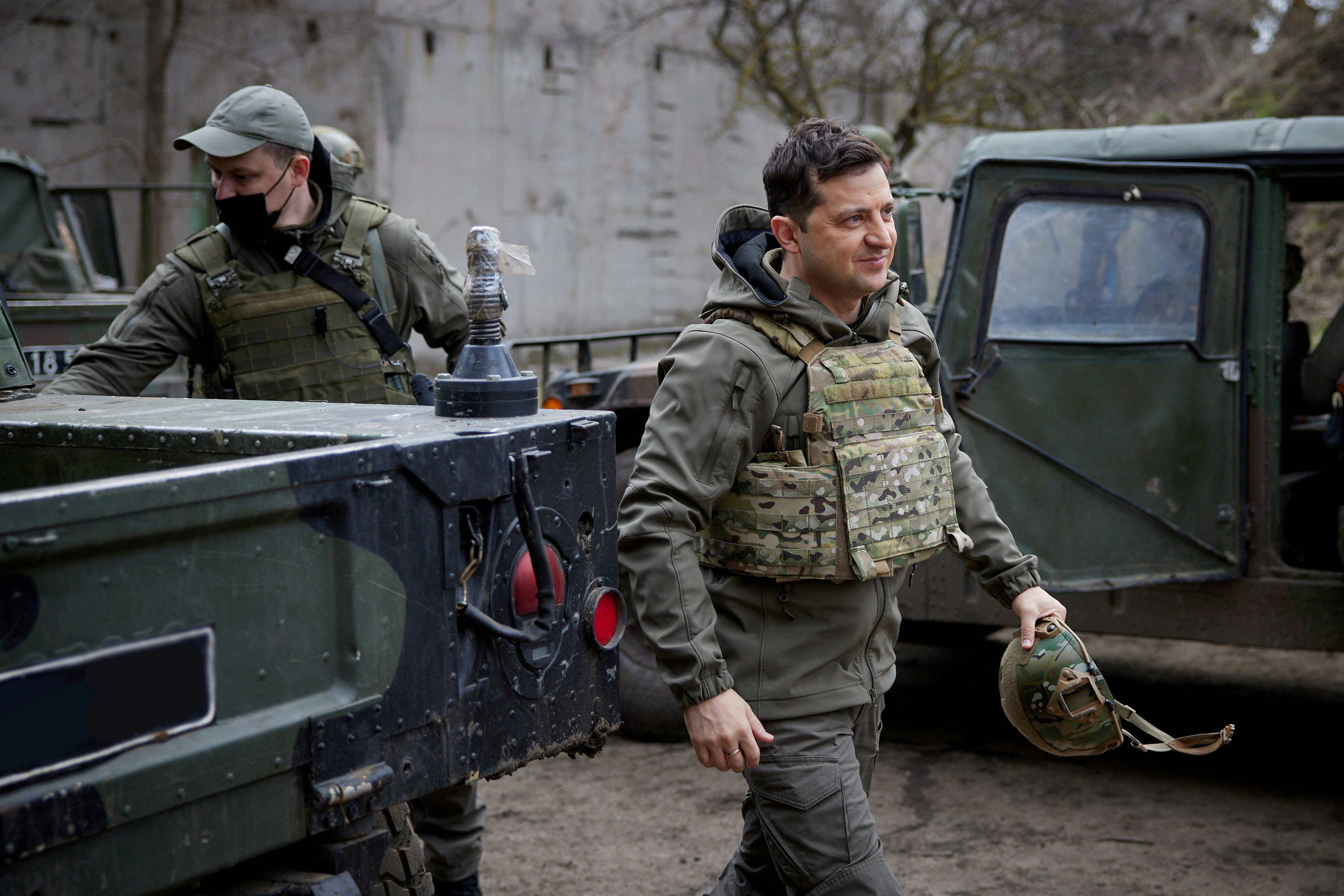 Ukraine's President Volodymyr Zelenskiy visits positions of armed forces near the frontline with Russian-backed separatists in Donbass region, Ukraine April 9, 2021. Ukrainian Presidential Press Service/Handout via REUTERS