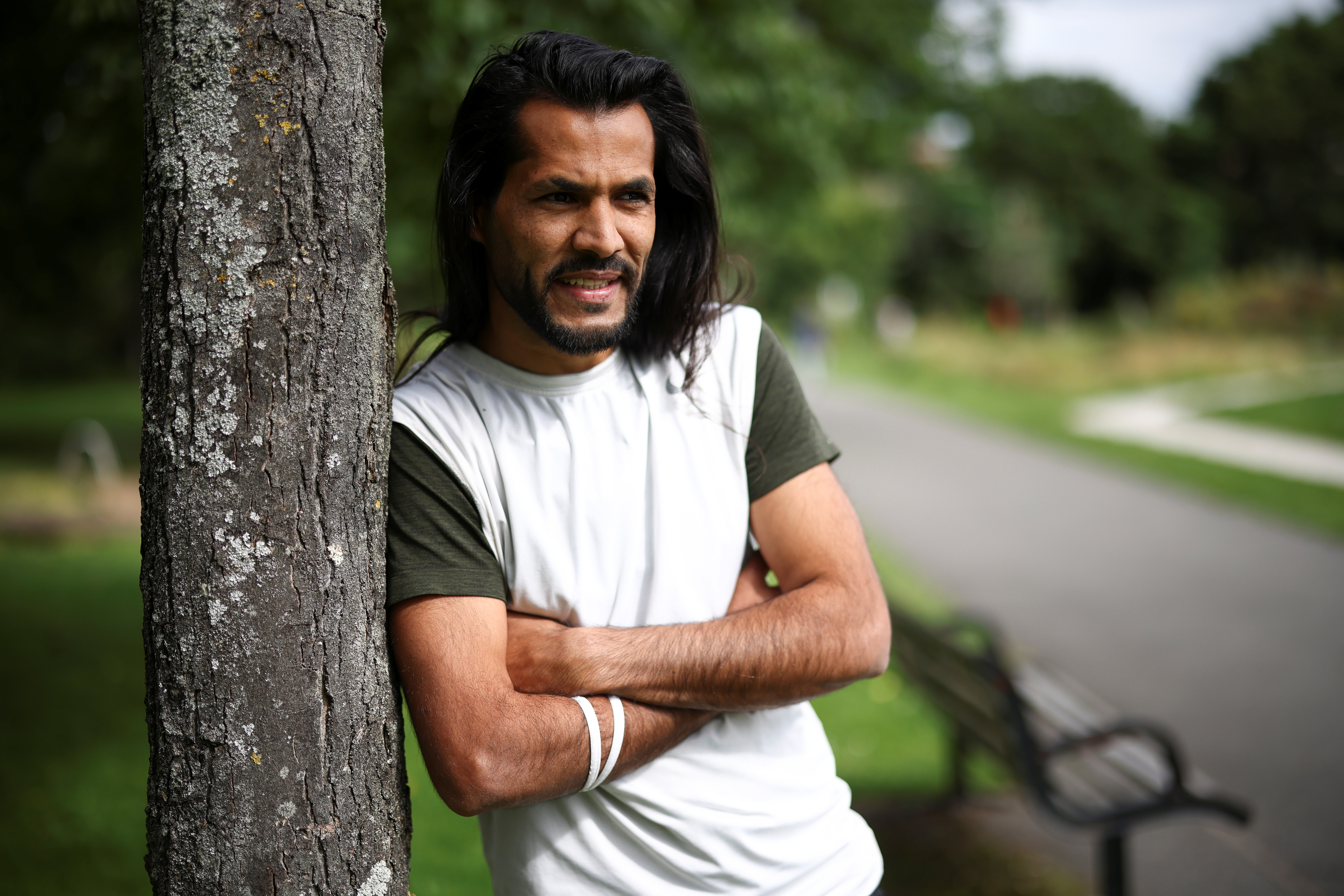 Abdullah al Badri, from Kuwait, who is currently seeking asylum in the United Kingdom, poses during an interview with Reuters in London, Britain, July 27, 2021. Picture taken July 27, 2021. REUTERS/Henry Nicholls