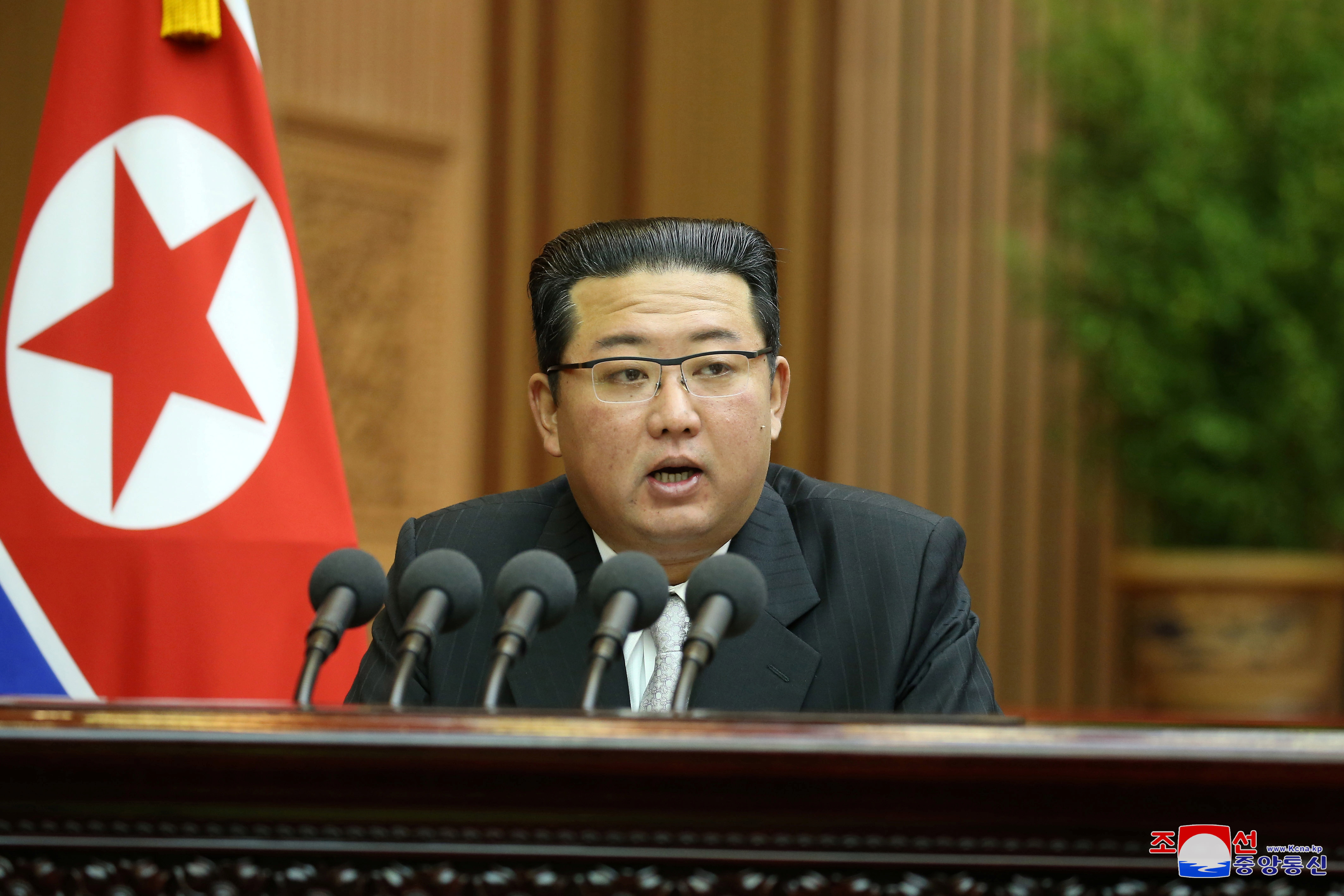 North Korean leader Kim Jong Un delivers a policy speech at the second-day sitting of the 5th Session of the 14th Supreme People's Assembly (SPA) of the Democratic People's Republic of Korea (DPRK) at the Mansudae Assembly Hall in Pyongyang, North Korea, in this undated photo released on September 30, 2021 by North Korea's Korean Central News Agency (KCNA). KCNA via REUTERS