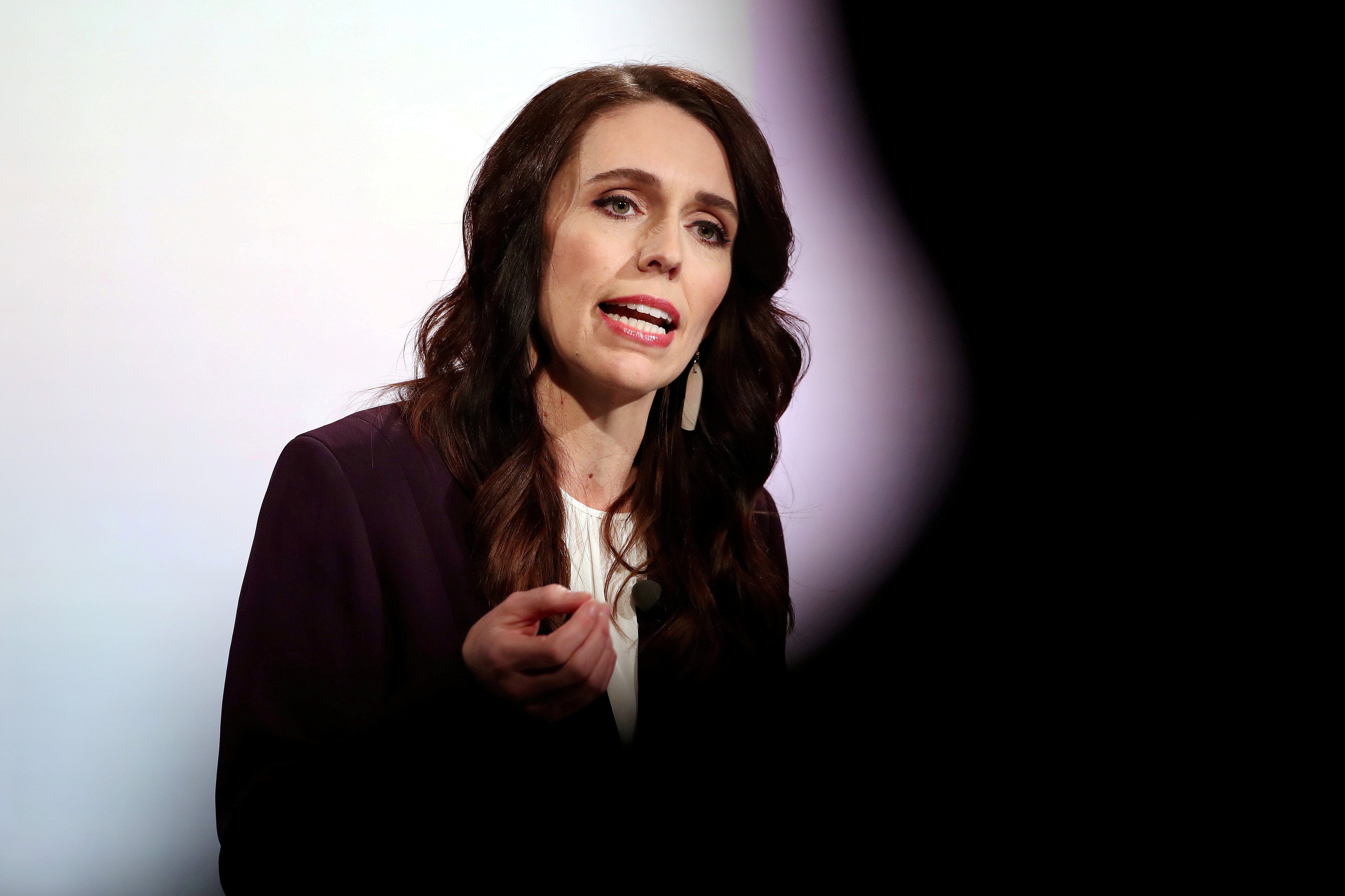 New Zealand Prime Minister Jacinda Ardern participates in a televised debate with National leader Judith Collins at TVNZ in Auckland, New Zealand, September 22, 2020.  Fiona Goodall/Pool via REUTERS/File Photo