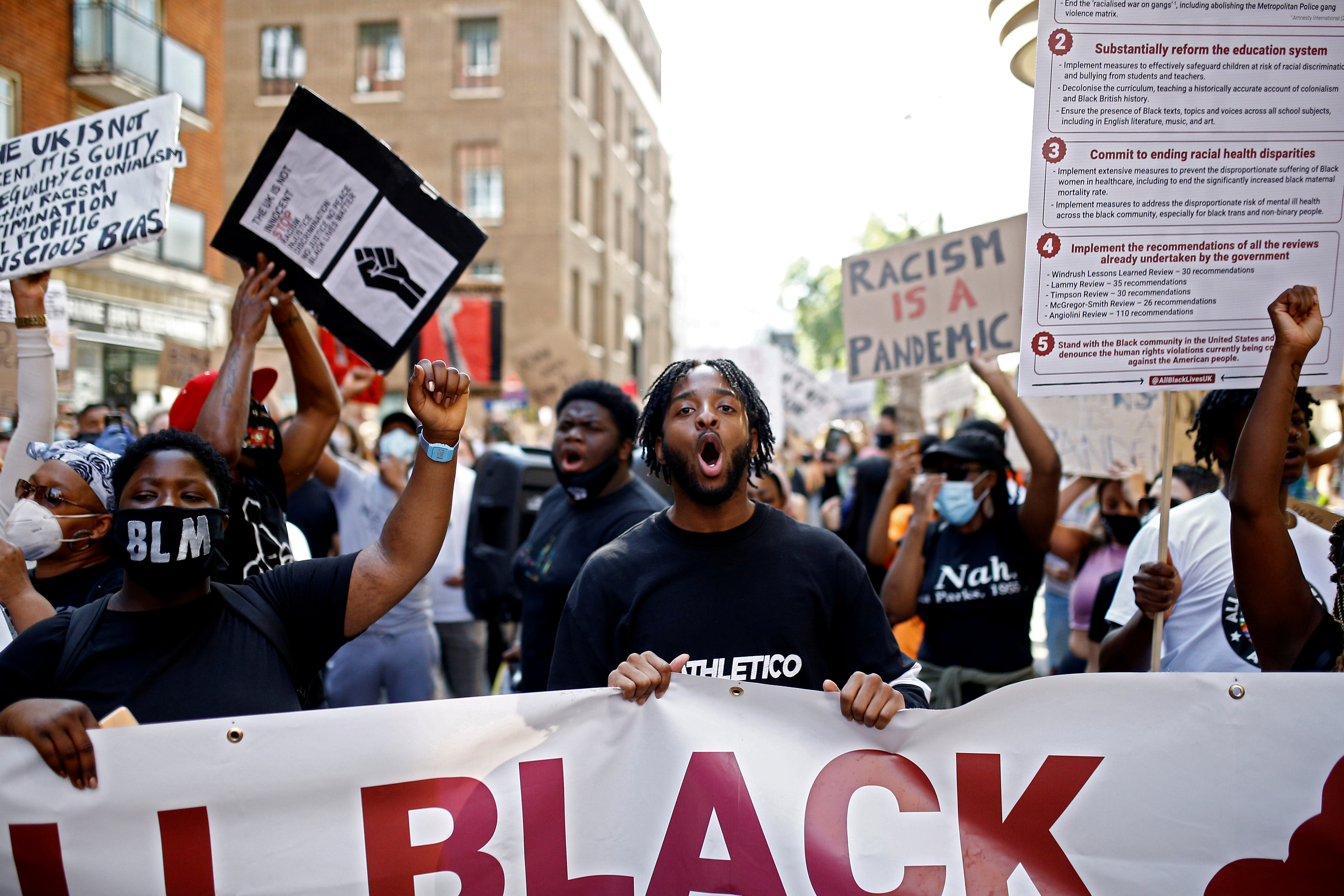 Demonstrators take part in a Black Lives Matter protest in London, Britain, July 12, 2020. REUTERS/Henry Nicholls/File Photo