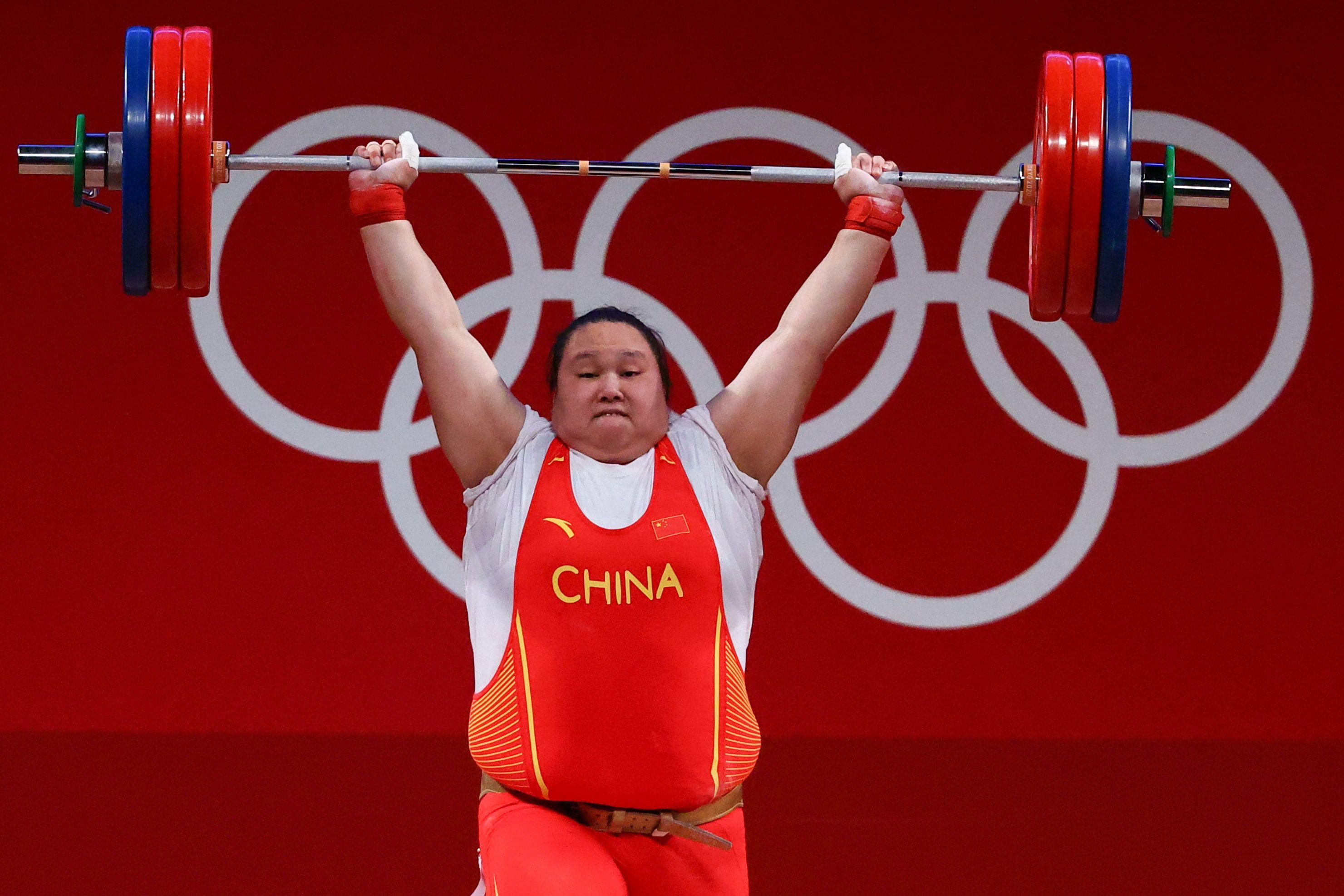Tokyo 2020 Olympics - Weightlifting - Women's +87kg - Group A - Tokyo International Forum, Tokyo, Japan - August 2, 2021. Li Wenwen of China in action. REUTERS/Edgard Garrido