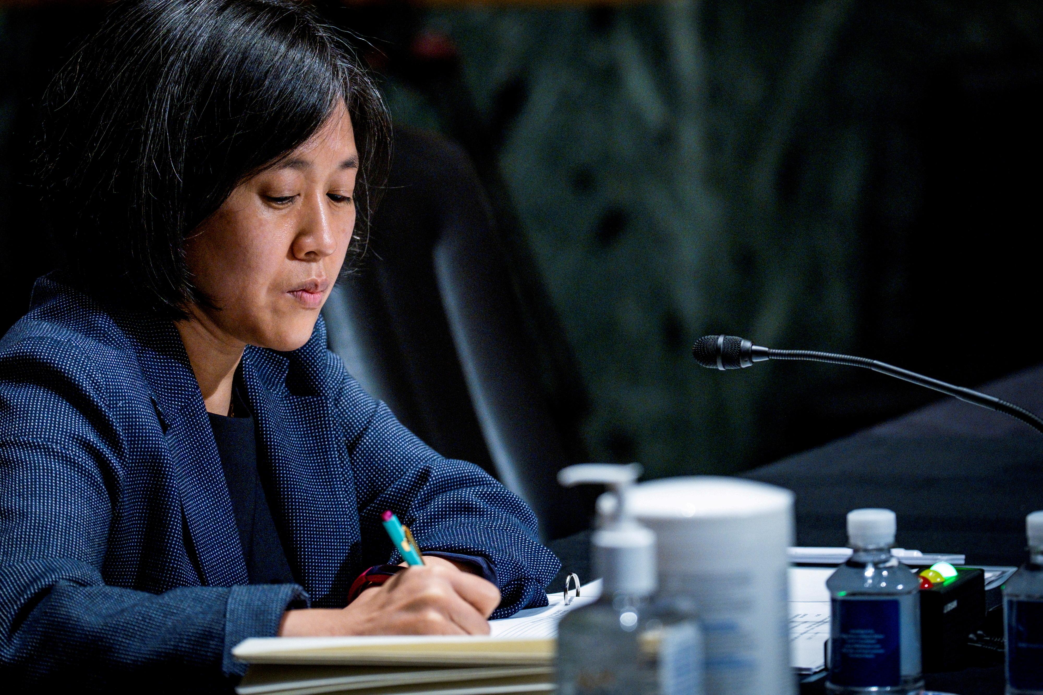 U.S. Trade Representative Katherine Tai testifies before the Senate Finance Committee on Capitol Hill in Washington, U.S., May 12, 2021. Pete Marovich/Pool via REUTERS/File Photo