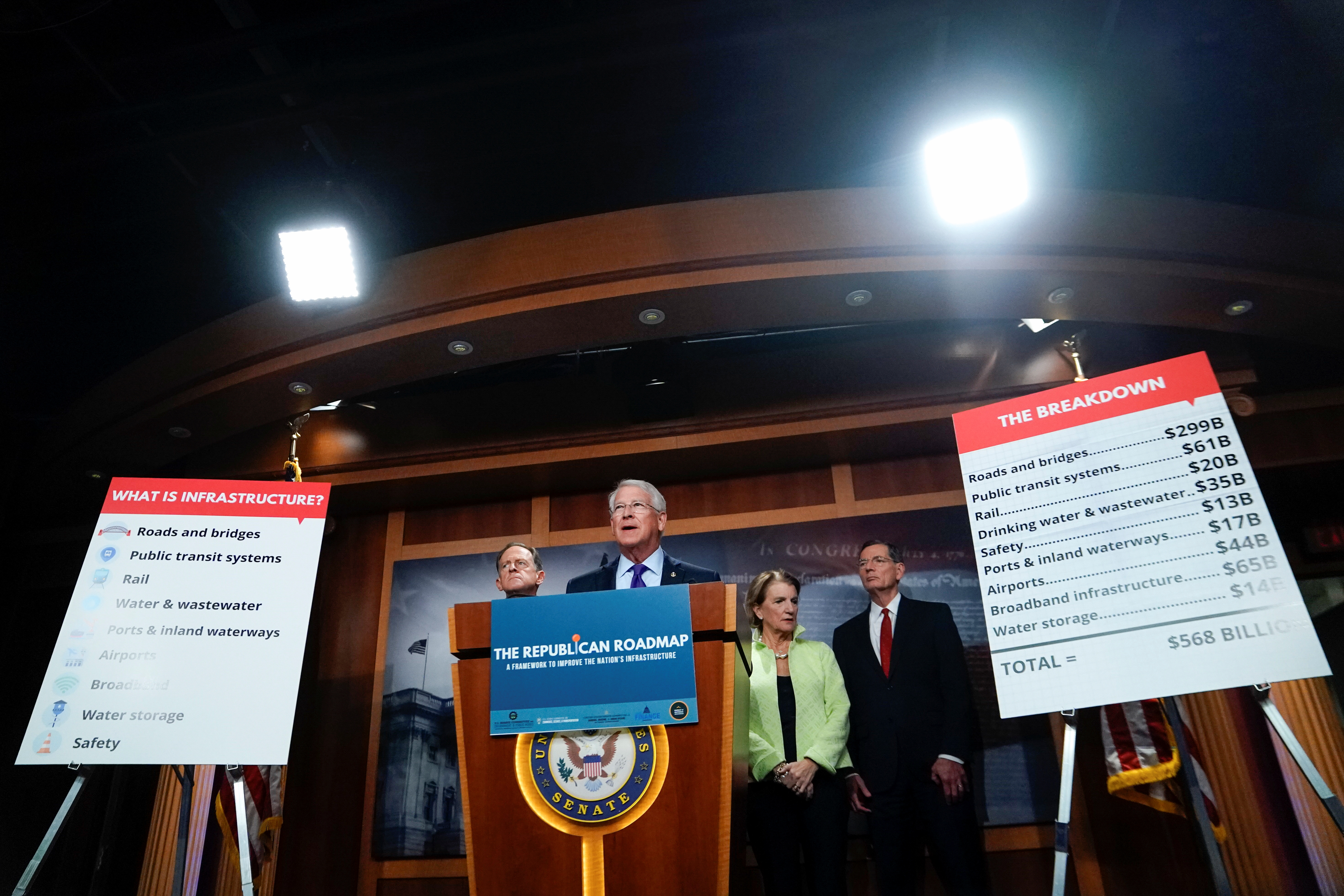 Roger Wicker (R-MS) speaks during a news conference to introduce the Republican infrastructure plan, at the U.S. Capitol in Washington, U.S., April 22, 2021. REUTERS/Erin Scott
