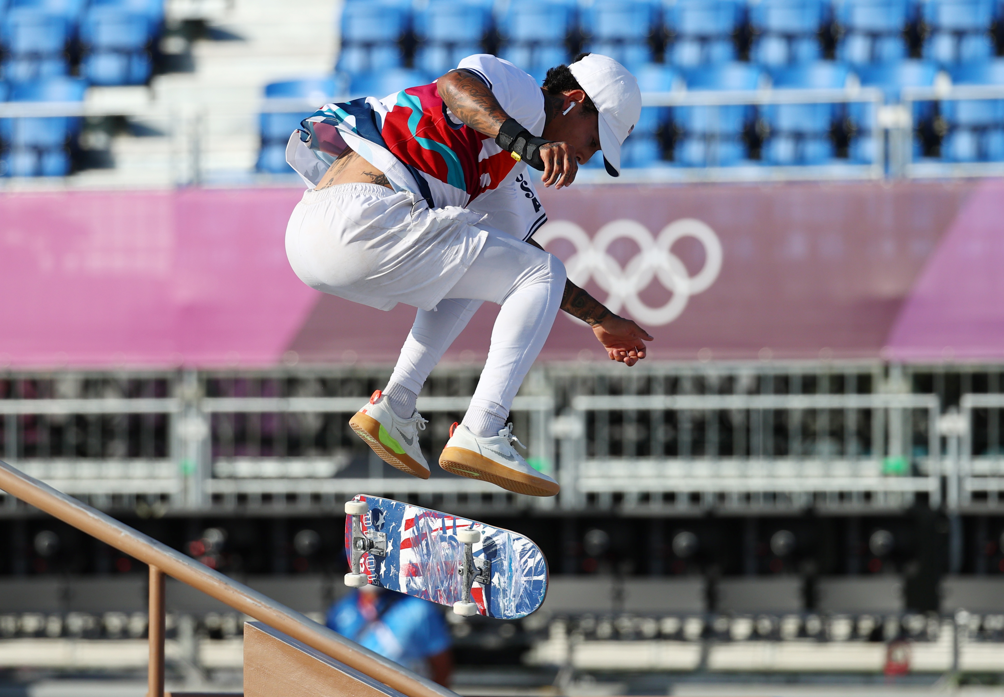 Tokyo 2020 Olympics - Skateboarding Training Session - Ariake Urban Sports Park, Tokyo, Japan - July 24, 2021. Nyjah Huston of the United States in action during training REUTERS/Lucy Nicholson
