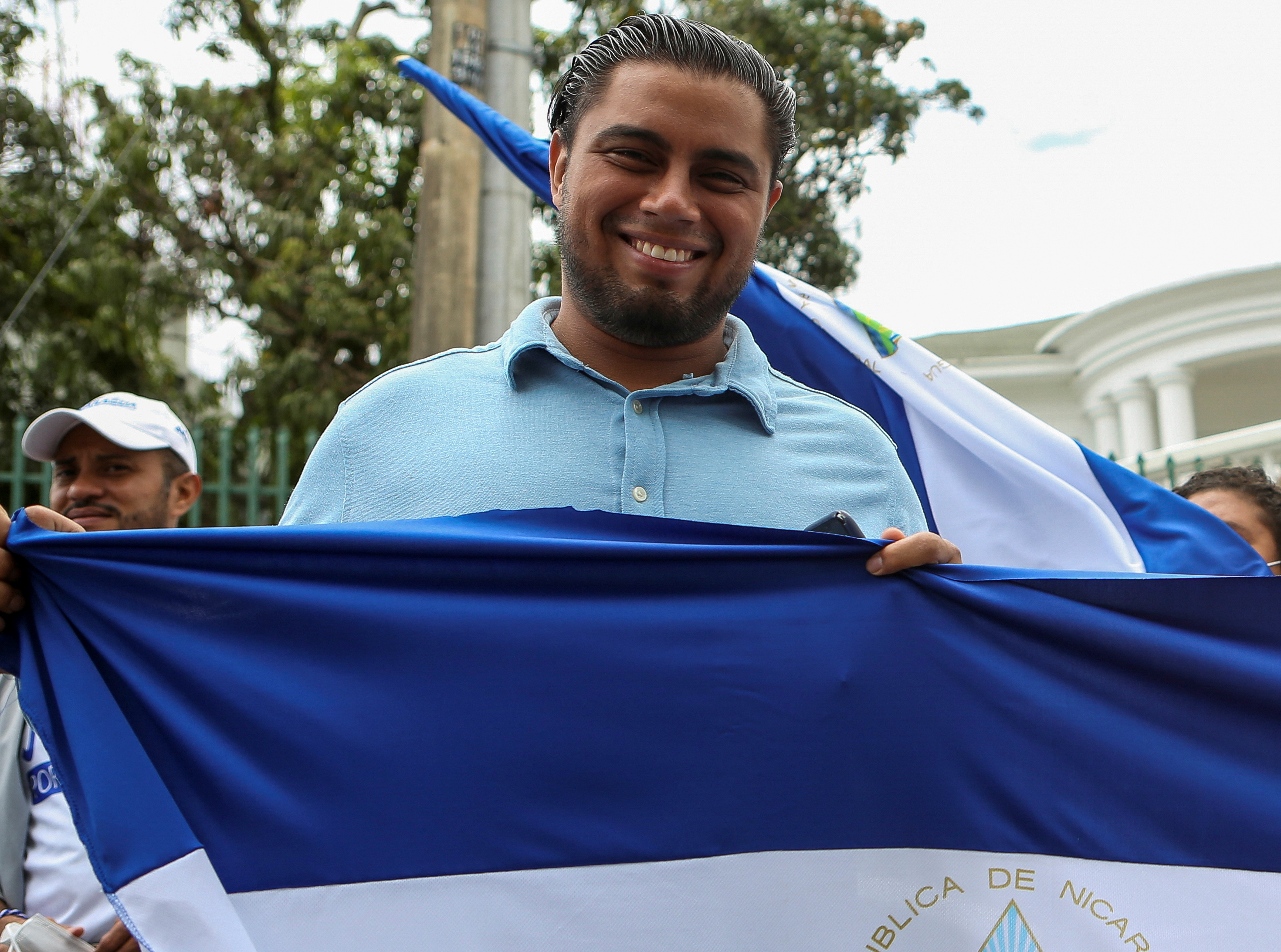 Nicaraguan political activist Joao Maldonado participates in a protest in front of the Inter-American Court of Human Rights (CIDH) in San Jose, Costa Rica August 27, 2021. REUTERS/Mayela Lopez