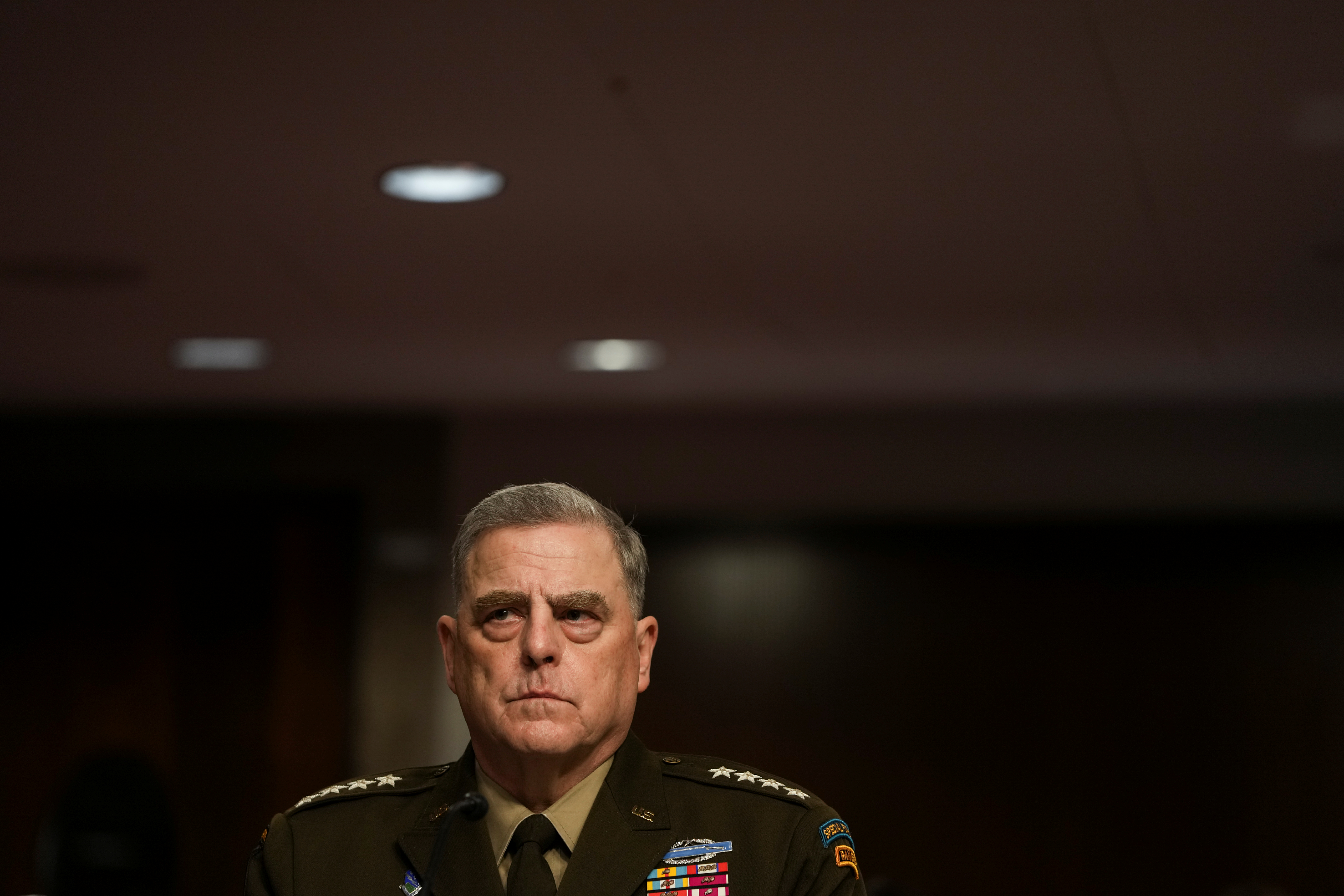 Chairman of the Joint Chiefs of Staff General Mark Milley attends a Senate Armed Services Committee hearing on the conclusion of military operations in Afghanistan and plans for future counterterrorism operations, on Capitol Hill in Washington, U.S., September 28, 2021.  Sarahbeth Maney/Pool via REUTERS
