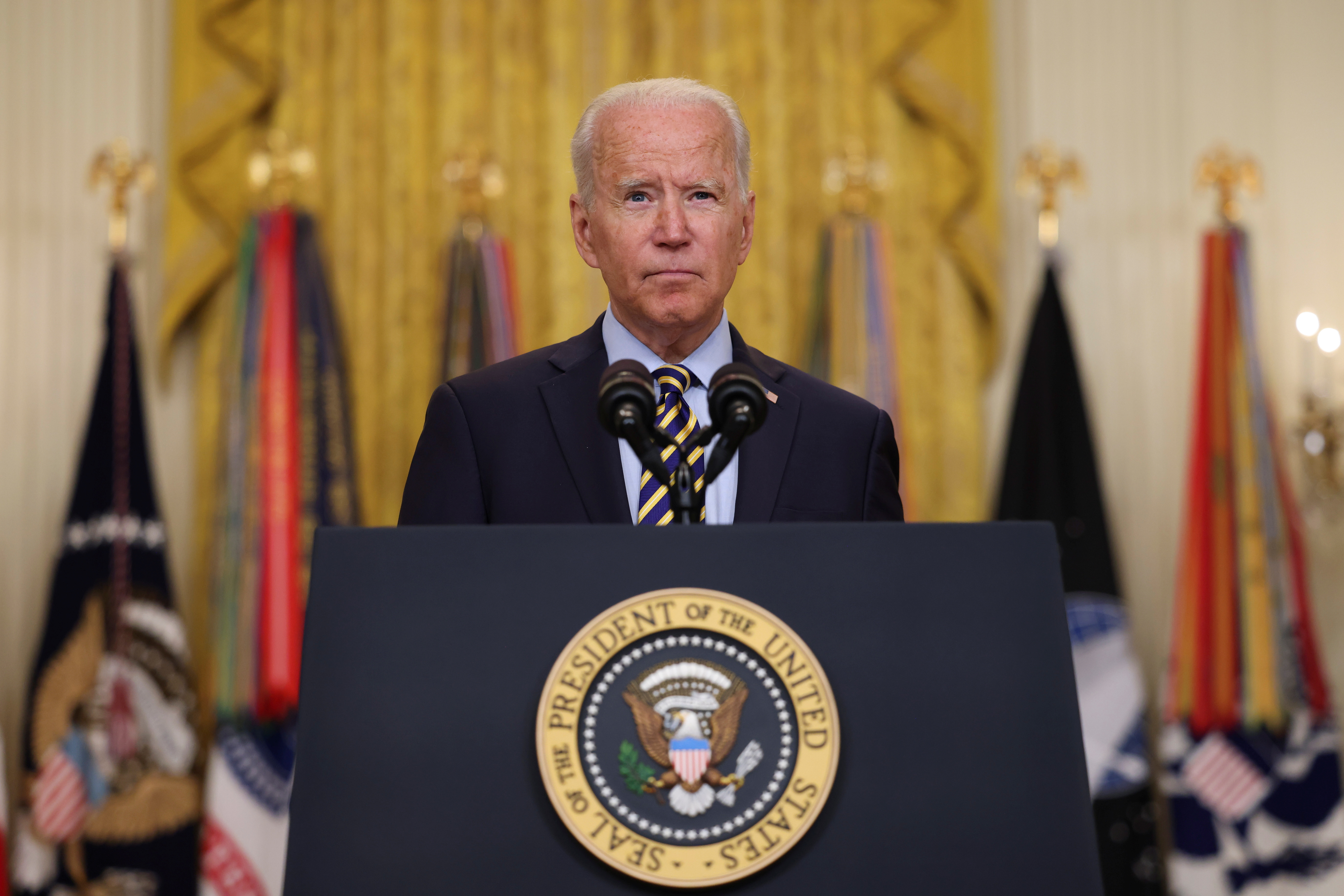 U.S. President Joe Biden delivers remarks on the administration's continued drawdown efforts in Afghanistan in a speech from the East Room at the White House in Washington U.S., July 8, 2021. REUTERS/Evelyn Hockstein