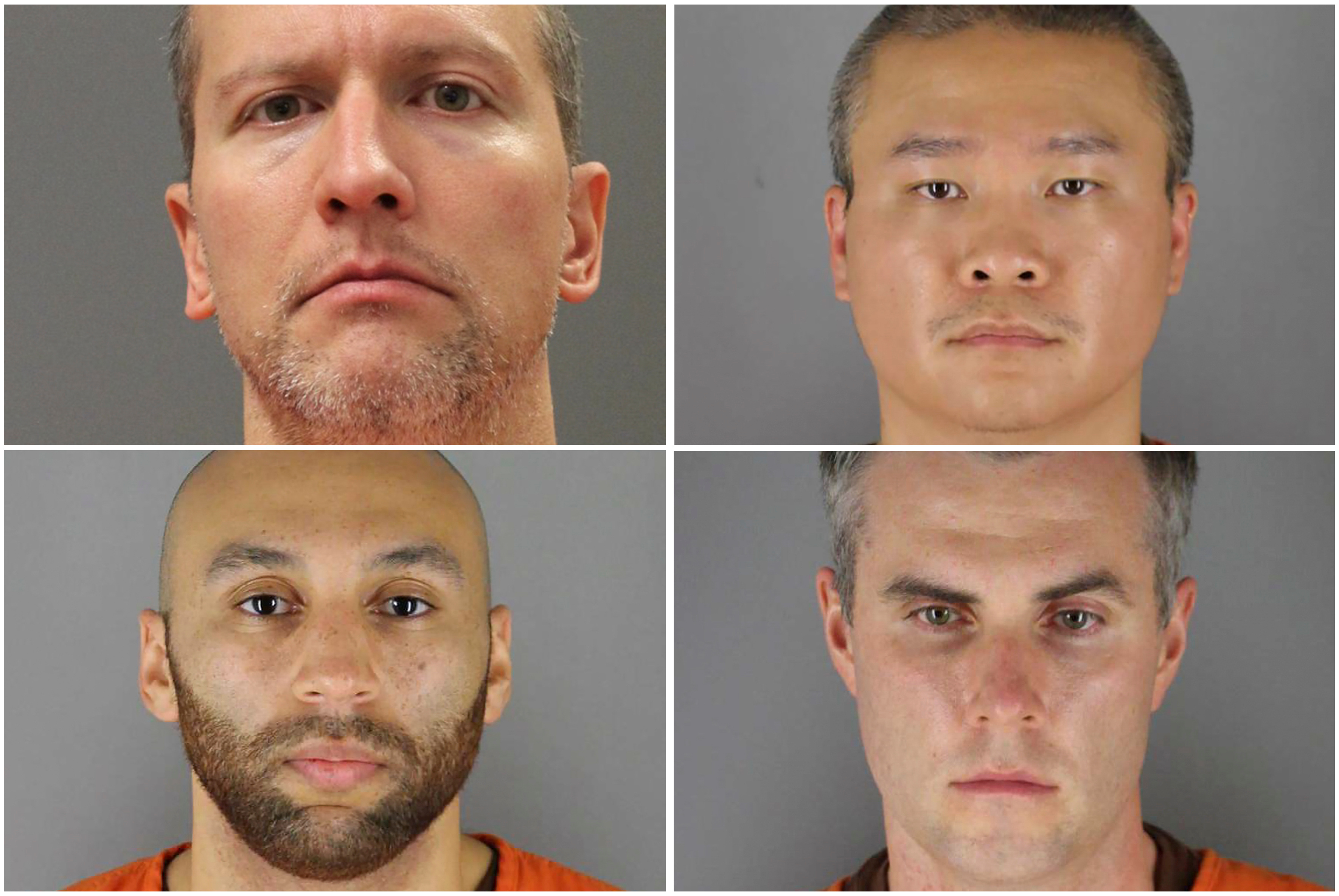 Former Minneapolis police officers (clockwise from top left) Derek Chauvin, Tou Thao, Thomas Lane and J. Alexander Kueng pose in a combination of booking photographs from the Minnesota Department of Corrections and Hennepin County Jail in Minneapolis, Minnesota, U.S.  Minnesota Department of Corrections and Hennepin County Sheriff's Office/Handout via REUTERS.