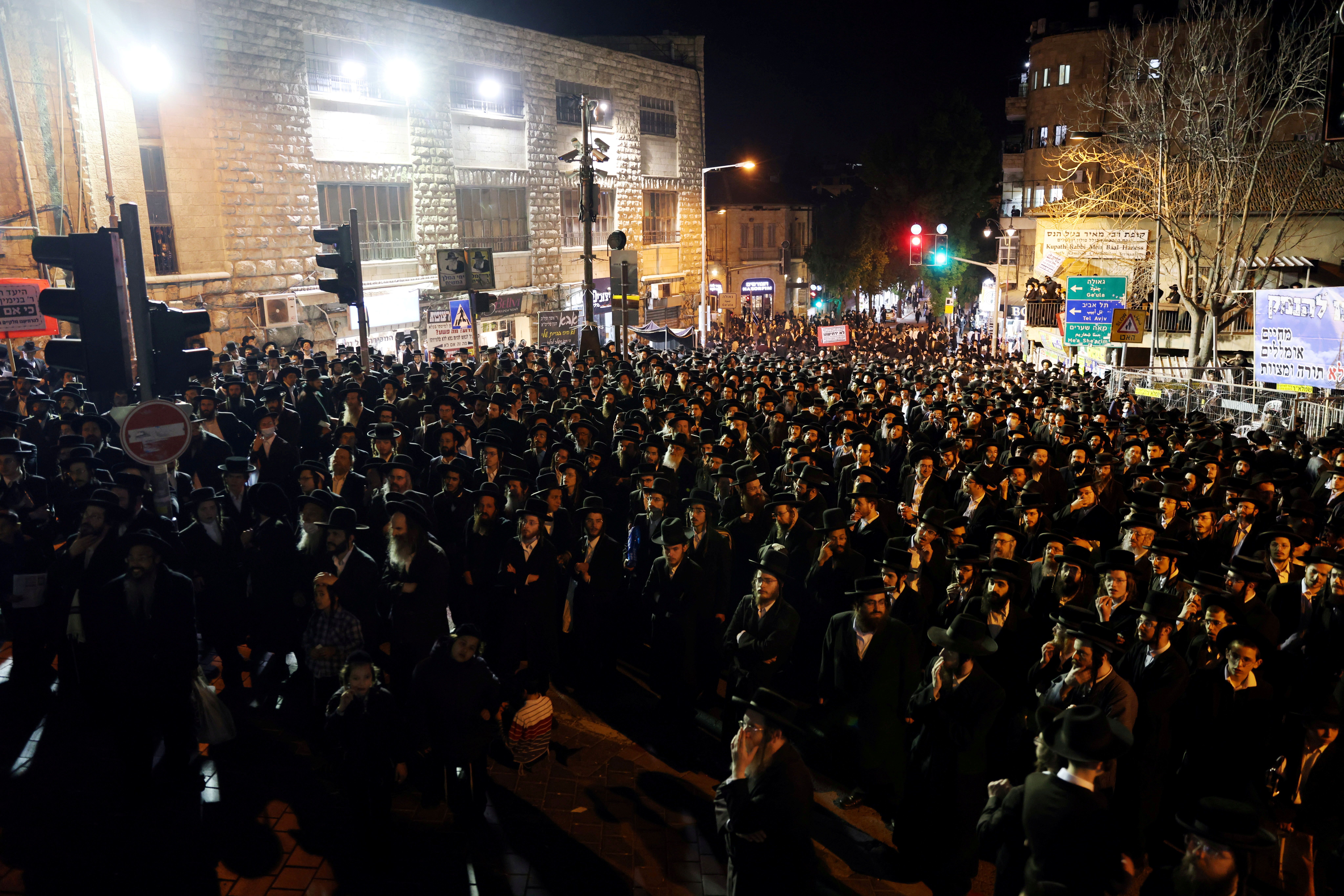 Ultra Orthodox Jews protest against the government's coronavirus disease (COVID-19) restrictions in Jerusalem February 9, 2021 REUTERS/Ronen Zvulun/File Photo