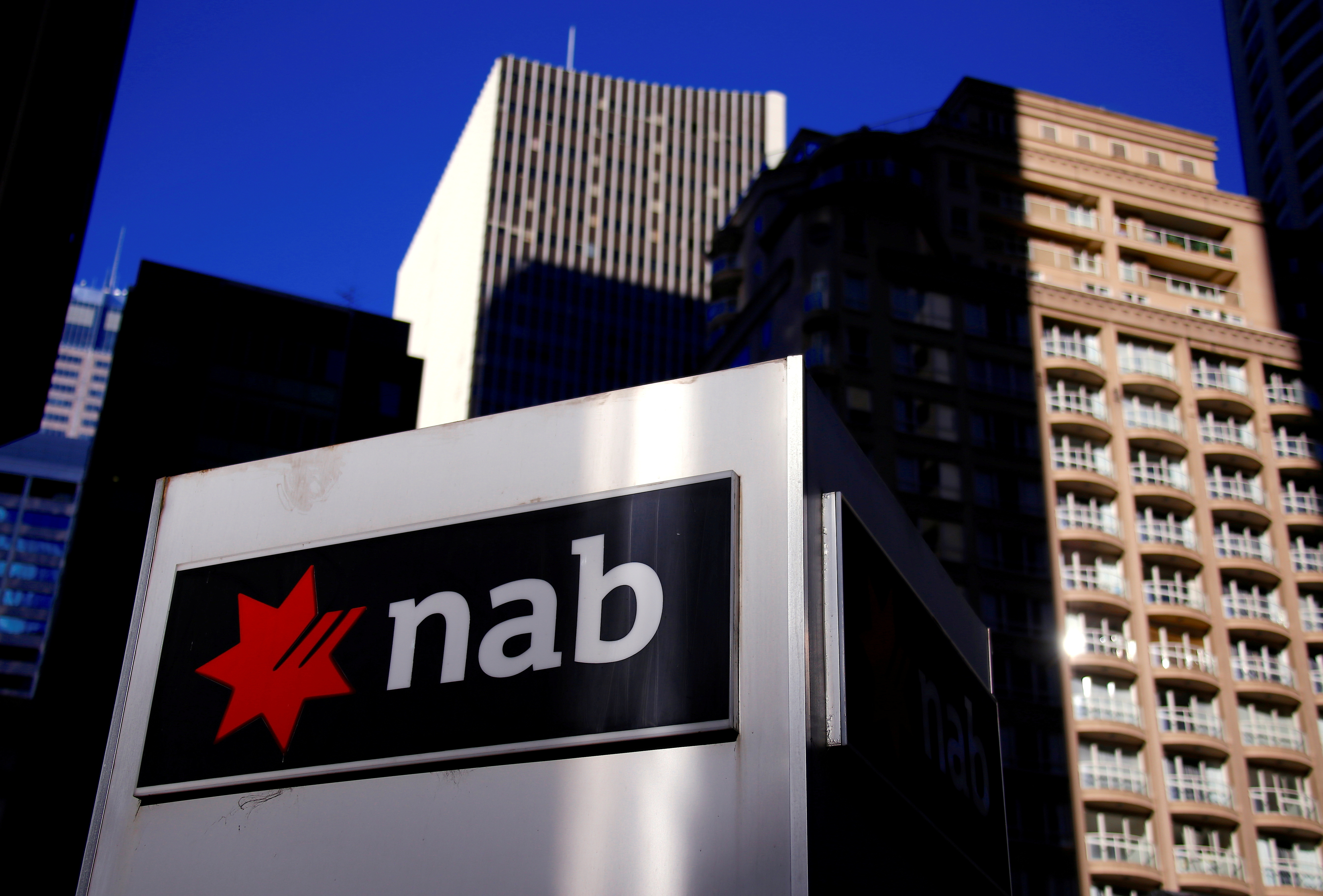 The logo of the National Australia Bank is displayed in central Sydney, Australia, August 4, 2017. REUTERS/David Gray