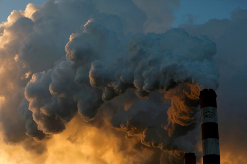 Smoke and steam billow from Belchatow Power Station, Europe's largest coal-fired power plant, near Belchatow, Poland. Picture taken November 28, 2018. REUTERS/Kacper Pempel/File Photo