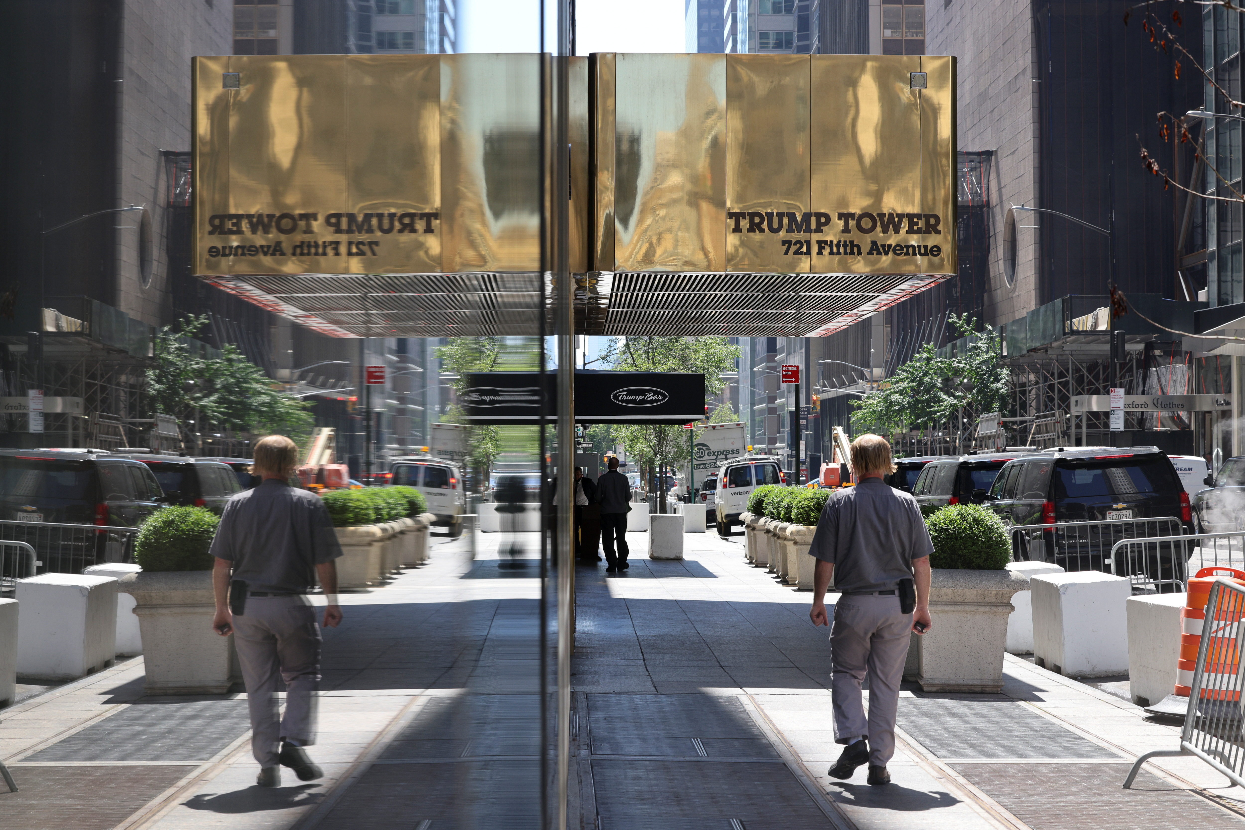 The residential entrance to Trump Tower on 56th Street is pictured in the Manhattan borough of New York City, U.S., June 30, 2021. REUTERS/Angus Mordant