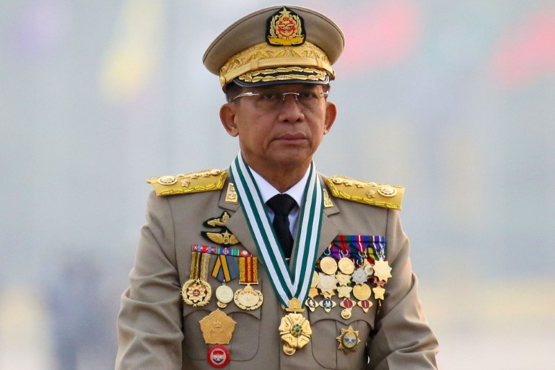 Myanmar's junta chief Senior General Min Aung Hlaing, who ousted the elected government in a coup on February 1, presides an army parade on Armed Forces Day in Naypyitaw, Myanmar, March 27, 2021. REUTERS/Stringer/File Photo/File Photo
