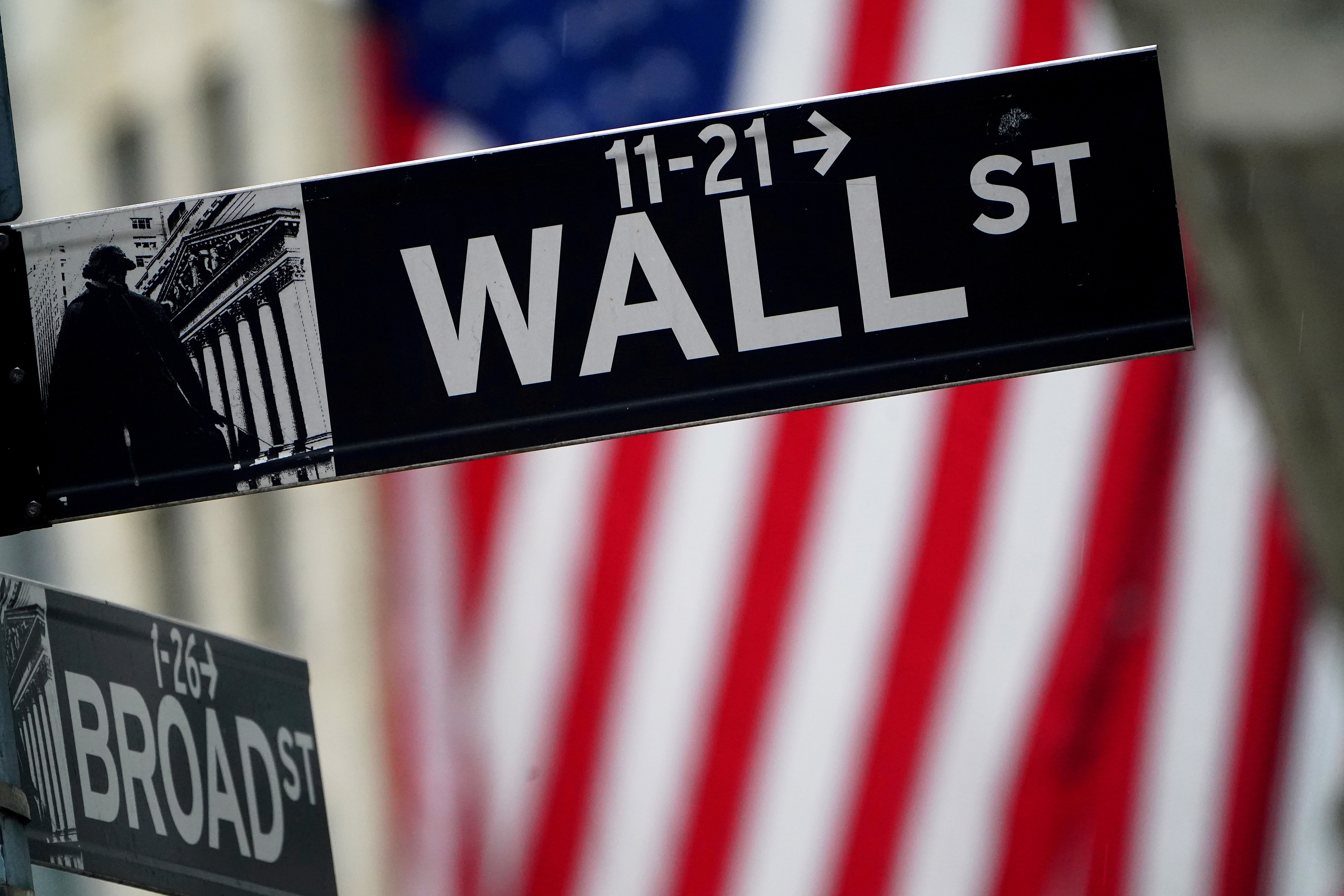 A Wall Street sign outside the New York Stock Exchange in New York City, New York, U.S., October 2, 2020. REUTERS/Carlo Allegri/File Photo