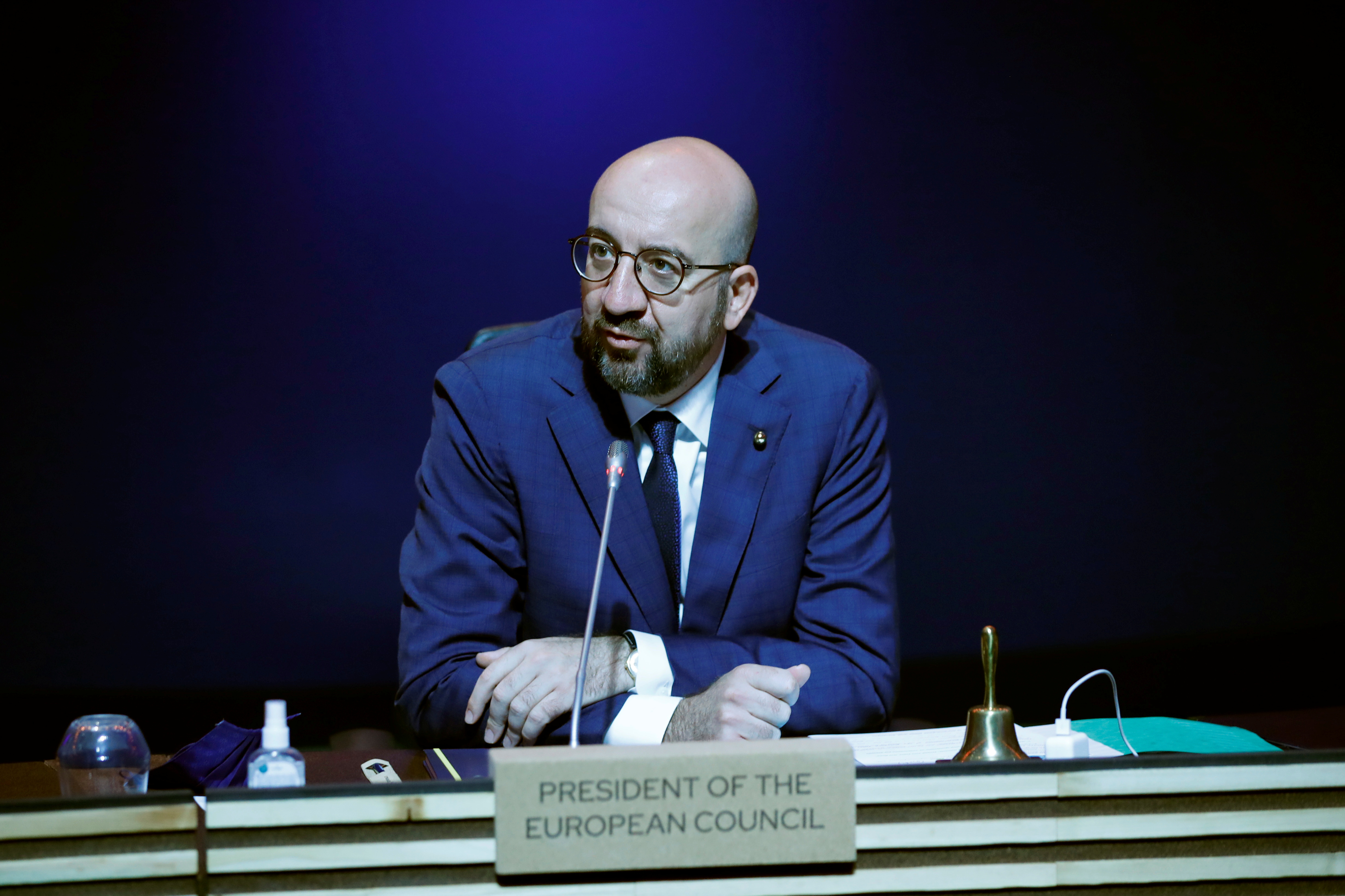 European Council President Charles Michel attends an EU summit round table meeting at the Crystal Palace in Porto, Portugal May 8, 2021. Francisco Seco/Pool via REUTERS