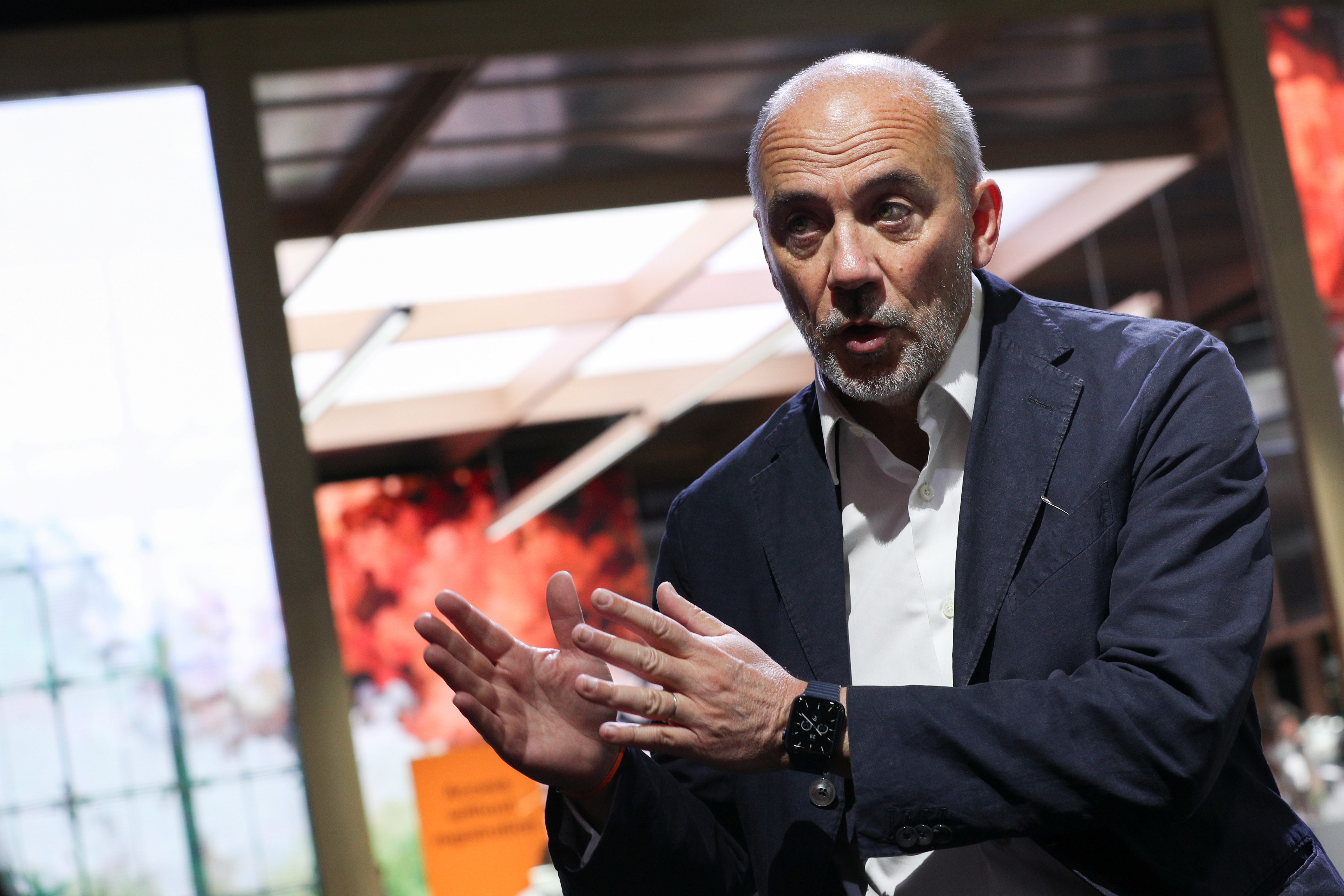 Chairman & CEO of Orange Stephane Richard speaks during an interview at the Mobile World Congress (MWC) in Barcelona, Spain, June 29, 2021. REUTERS/Albert Gea