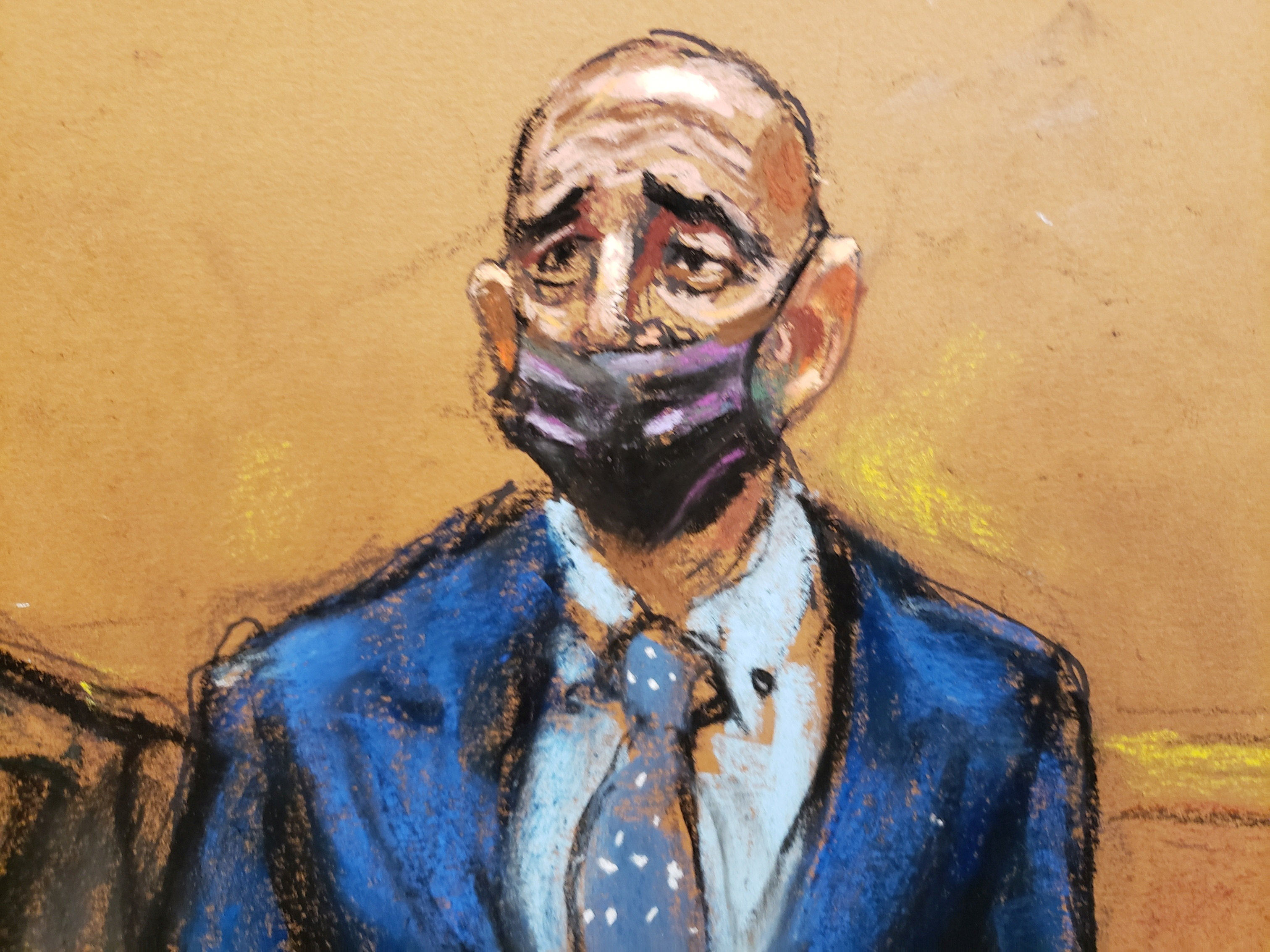 Thomas Barrack, a billionaire friend of Donald Trump who chaired the former president's inaugural fund, stands during his arraignment hearing at the Brooklyn Federal Courthouse in Brooklyn, New York, U.S., July 26, 2021 in this courtroom sketch.  REUTERS/Jane Rosenberg