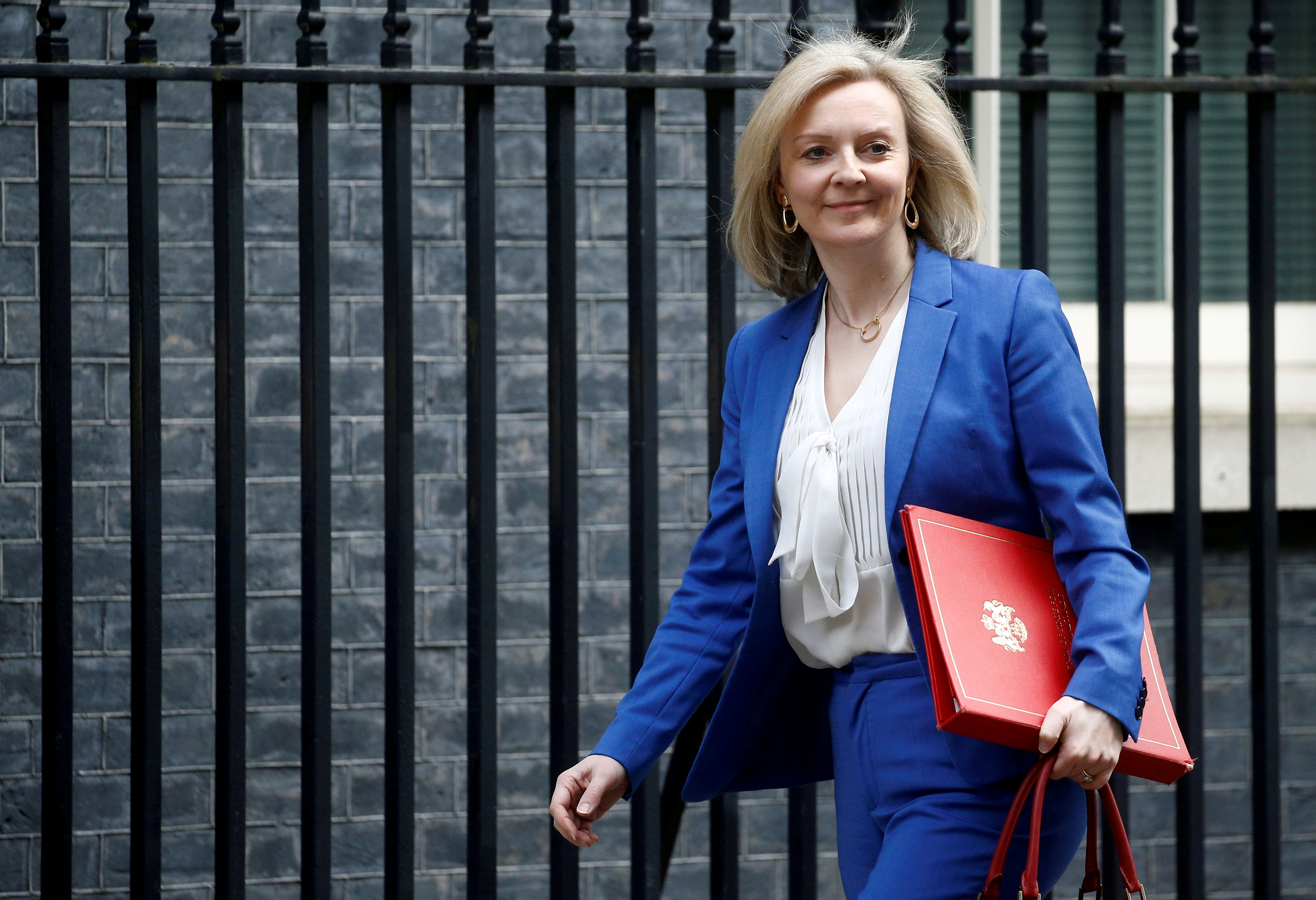 Britain's Secretary of State of International Trade and Minister for Women and Equalities Liz Truss is seen outside Downing Street, in London, Britain March 17, 2020. REUTERS/Henry Nicholls/File Photo