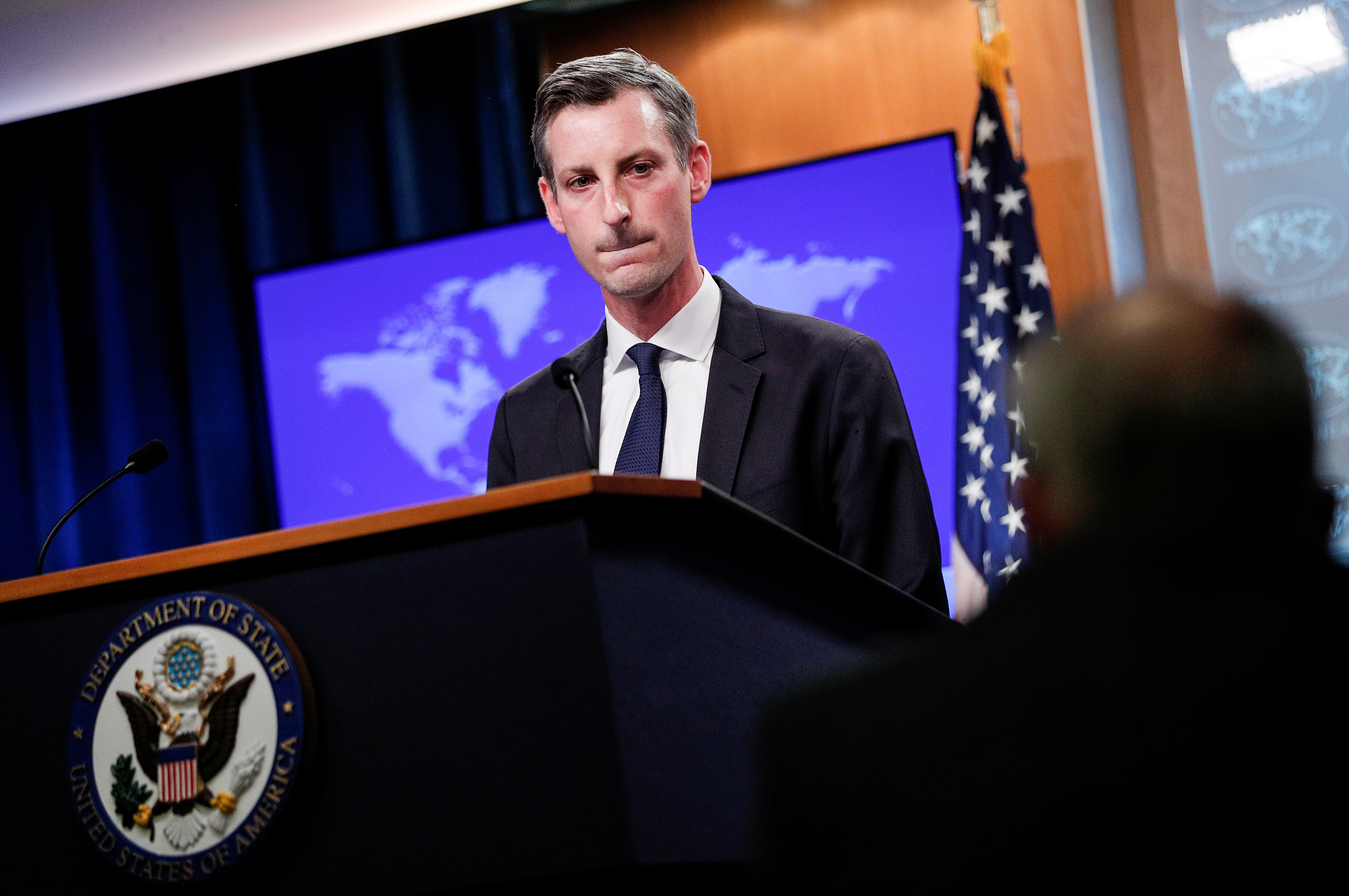 U.S. State Department Spokesman Ned Price faces reporters during a news briefing at the State Department in Washington, U.S., March 1, 2021. REUTERS/Tom Brenner/Pool