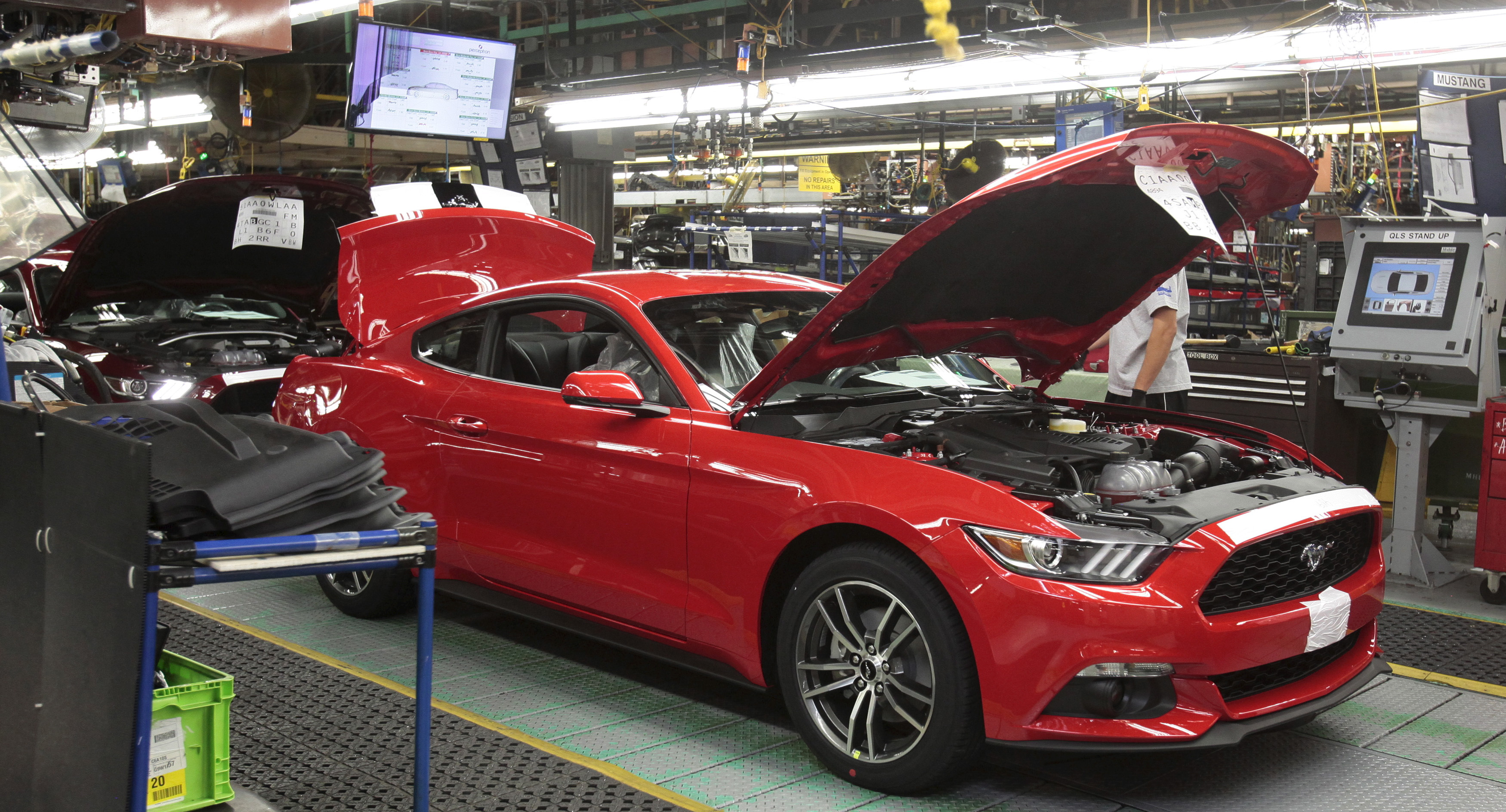 A 2015 Ford Mustang on the production line in Michigan. REUTERS/Rebecca Cook