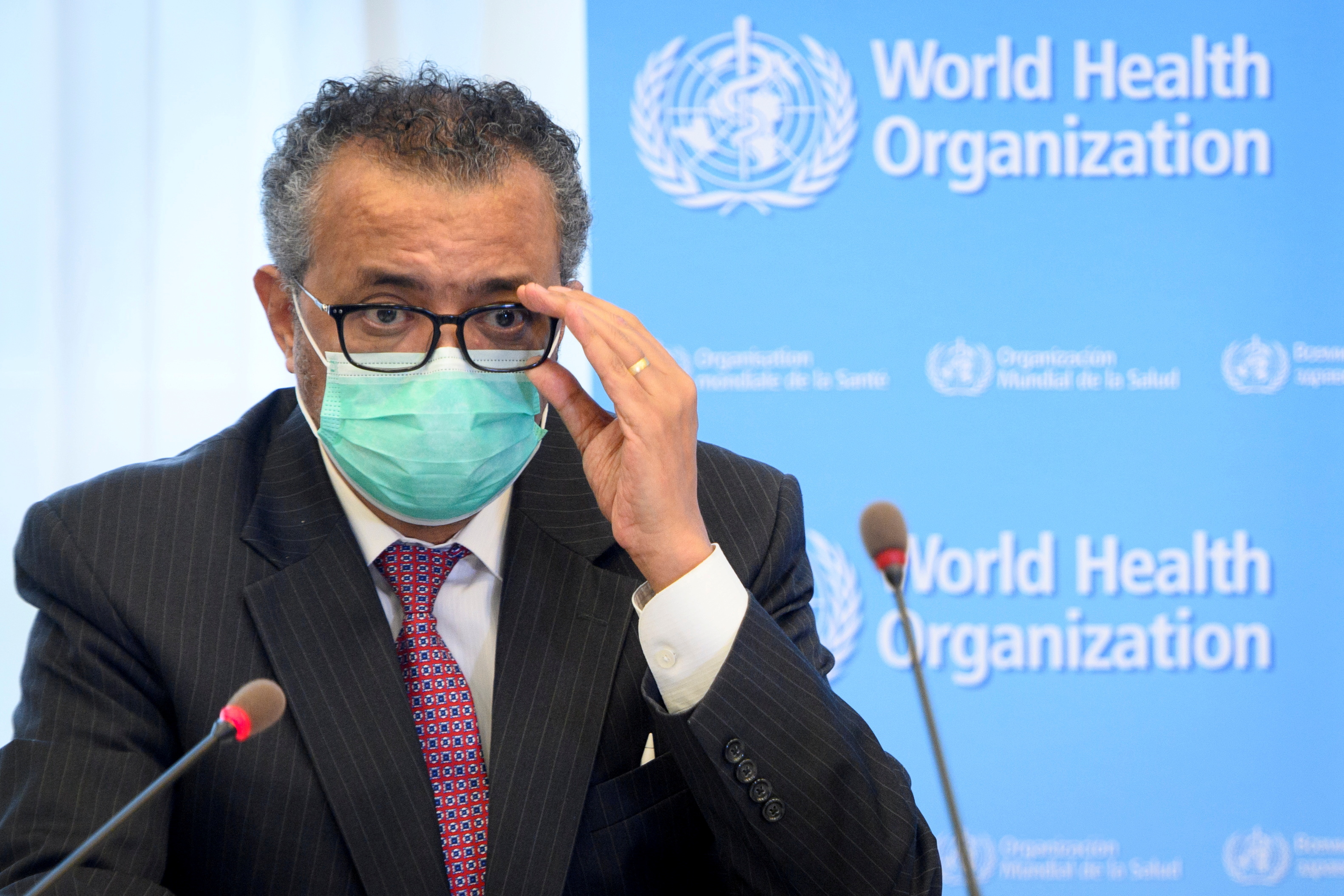 World Health Organization (WHO) Director General Tedros Adhanom Ghebreyesus speaks during a bilateral meeting with Swiss Interior and Health Minister Alain Berset on the sidelines of the opening of the 74th World Health Assembly at the WHO headquarters, in Geneva, Switzerland May 24, 2021. Laurent Gillieron/Pool via REUTERS