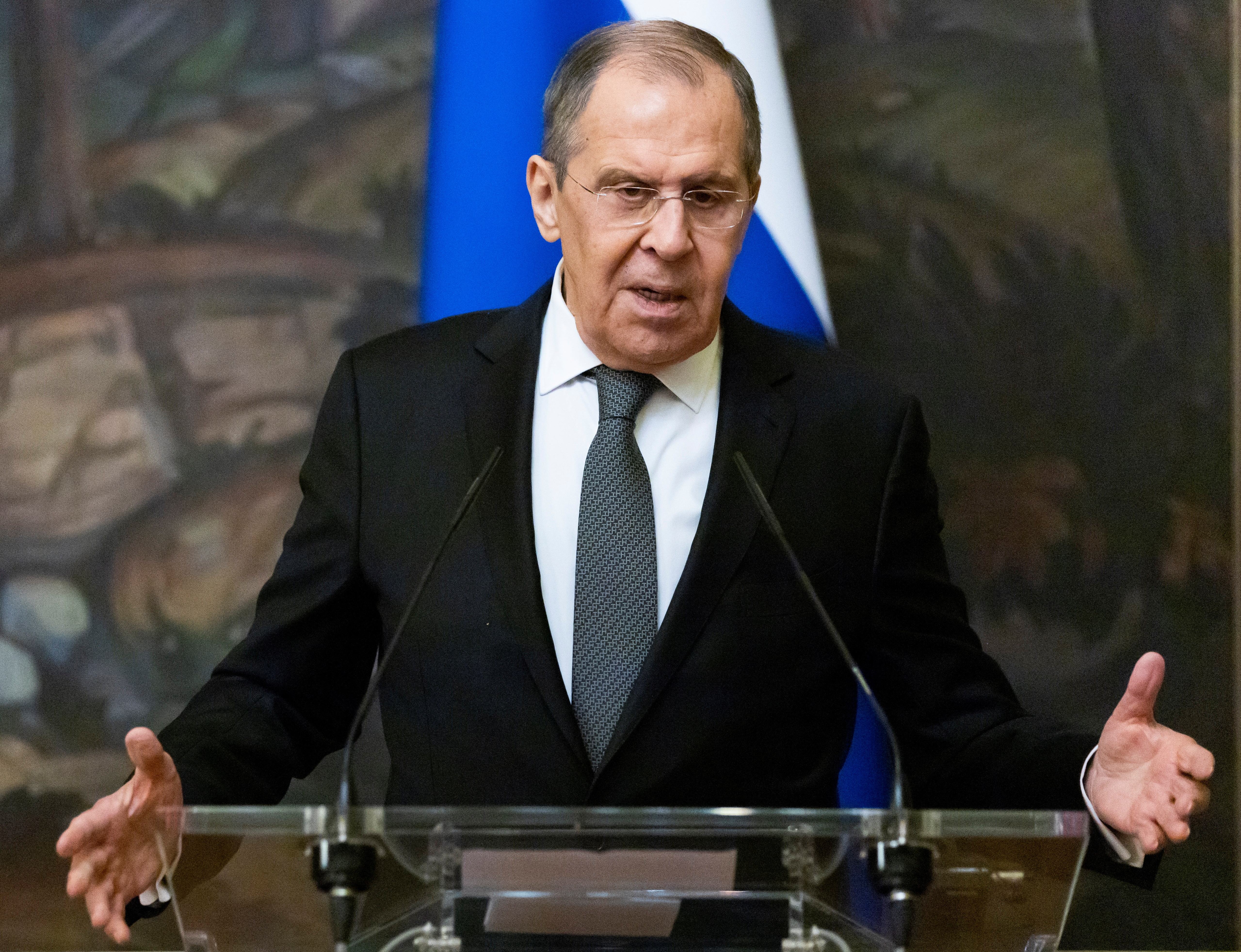 Russian Foreign Minister Sergei Lavrov speaks during a news conference in Moscow, Russia May 5, 2021. Alexander Zemlianichenko/Pool via REUTERS